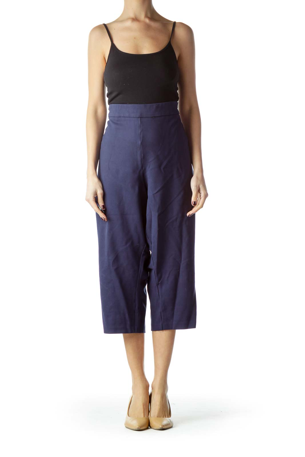 Shop Navy Blue Cropped Pants with White Buttons clothing and