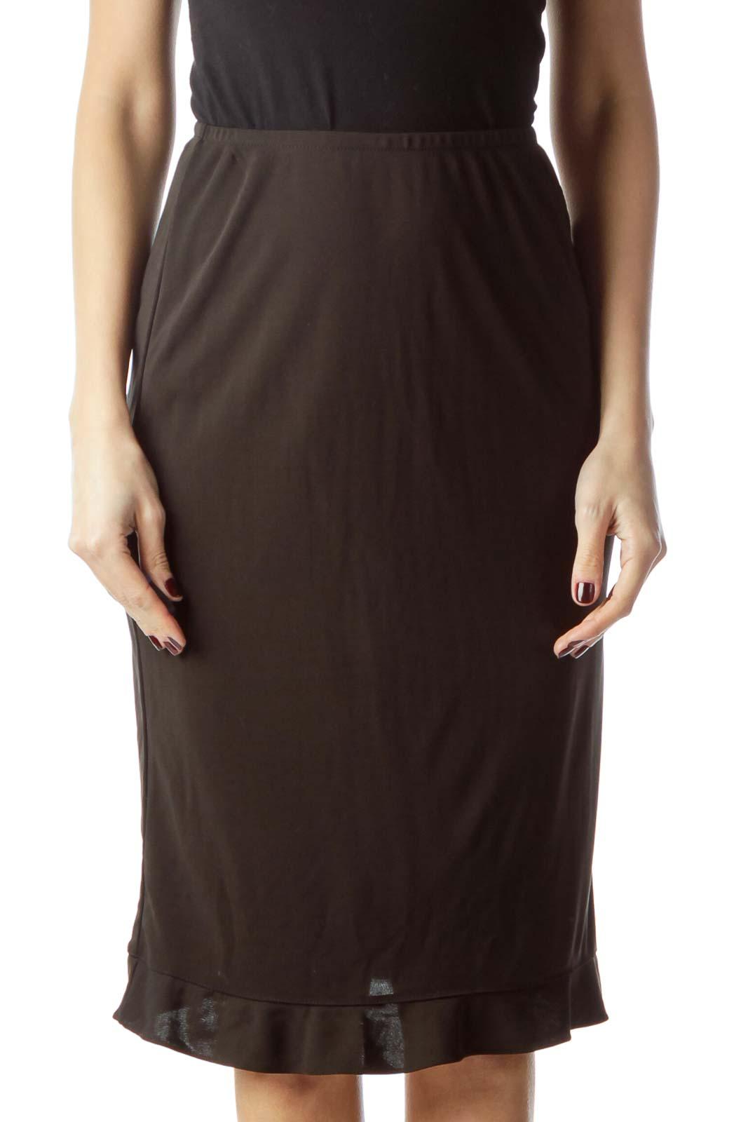 Black Stretch Midi Flared Skirt