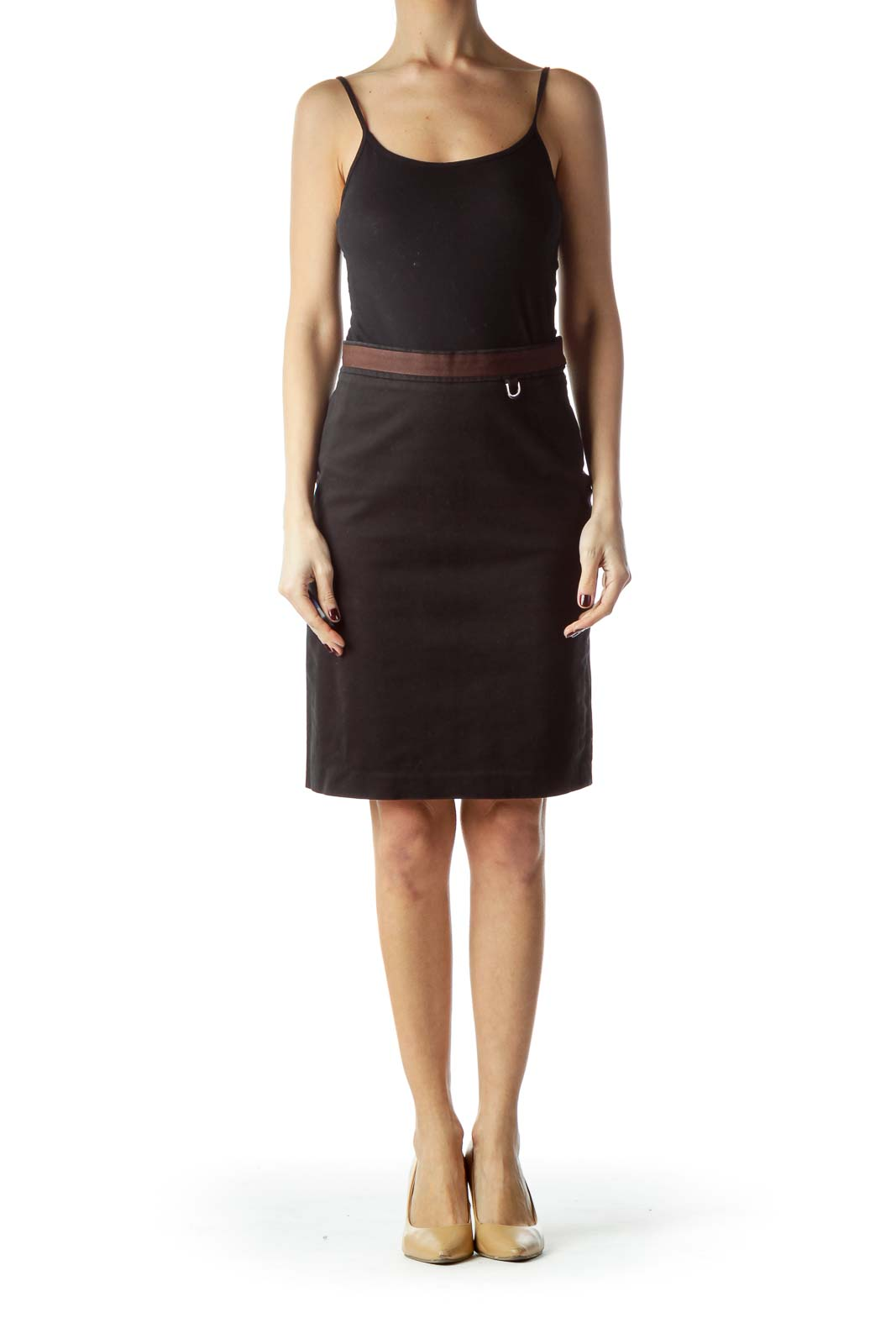 Black Brown Waist Pencil Skirt