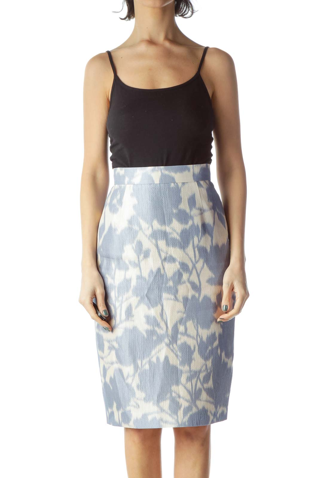 Blue Print Silk Pencil Skirt