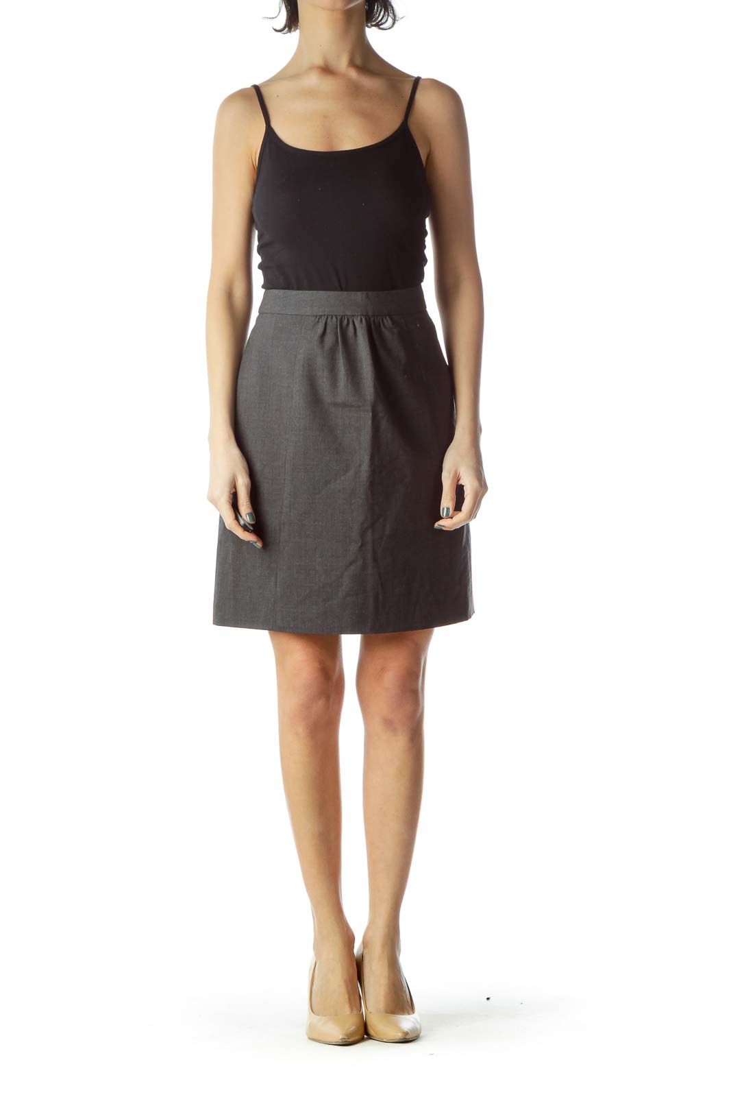 Gray Wool Pleated Skirt