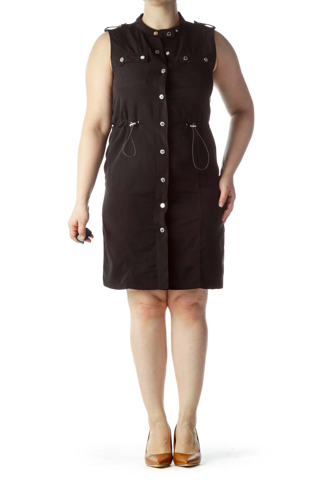 Black Snap Buttoned Sleeveless Dress