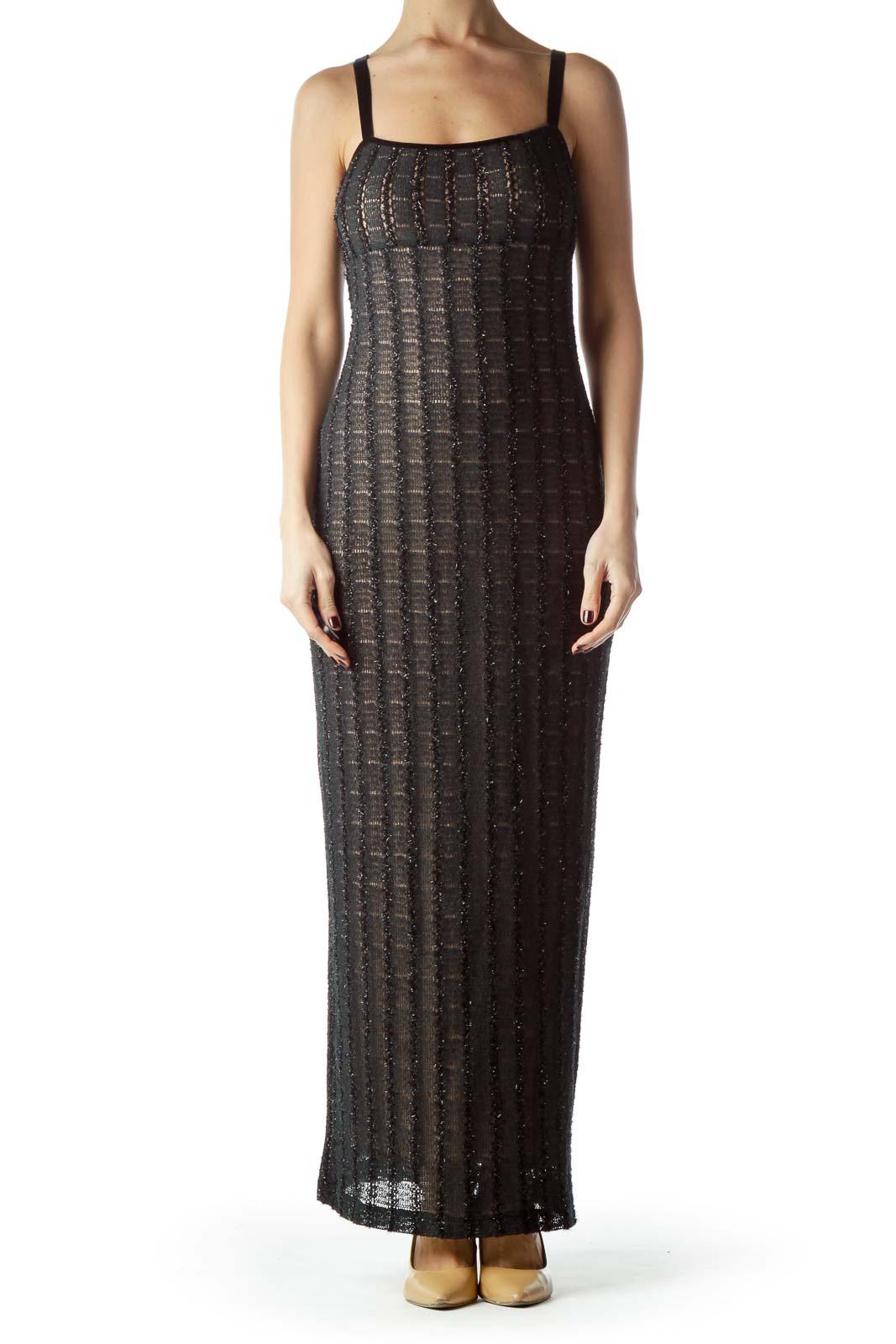 Black Velvet Straps Slim Fit Long Dress