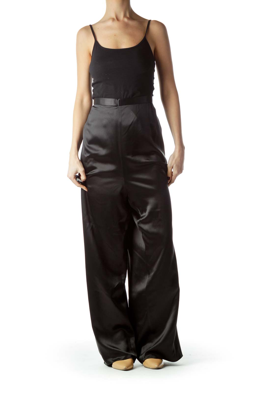 Black Shiny Zippered 100% Silk Pants