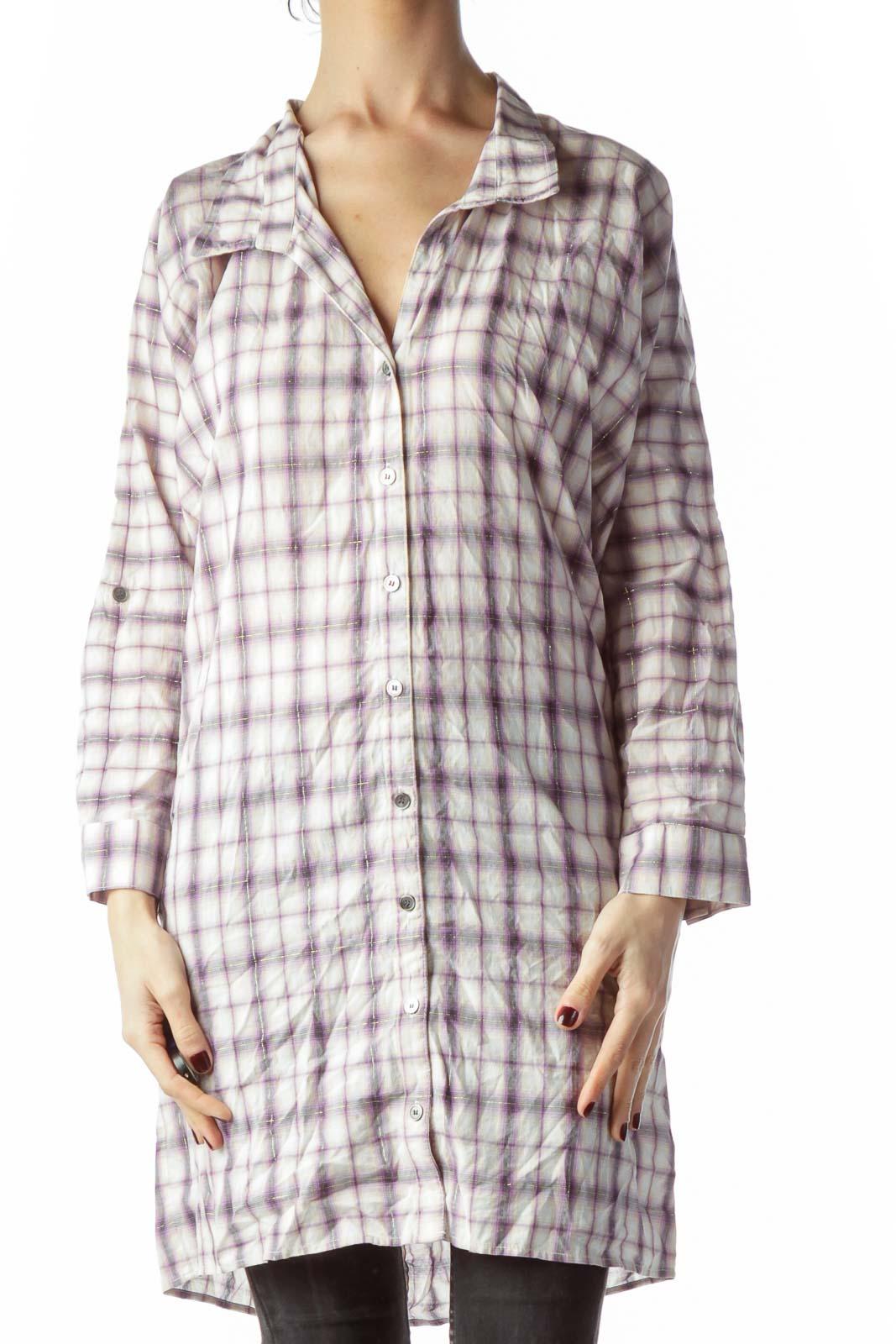 Purple Gold Thread Plaid Buttoned Long Shirt