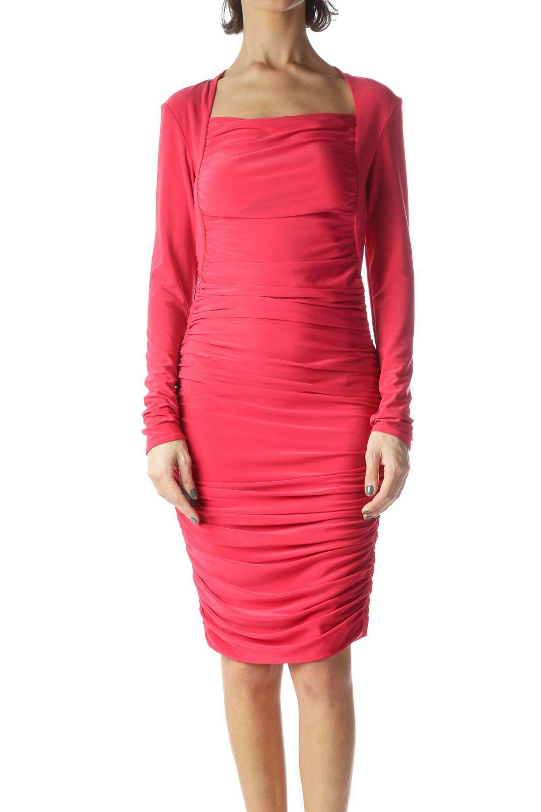 Pink Scrunched Slim Body Evening Dress