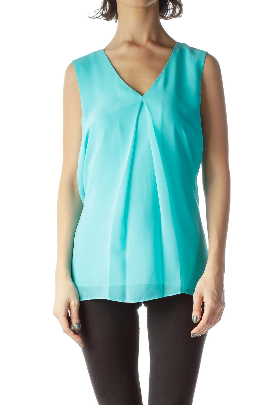 Mint Green V-Neck Sleeveless Shift Blouse