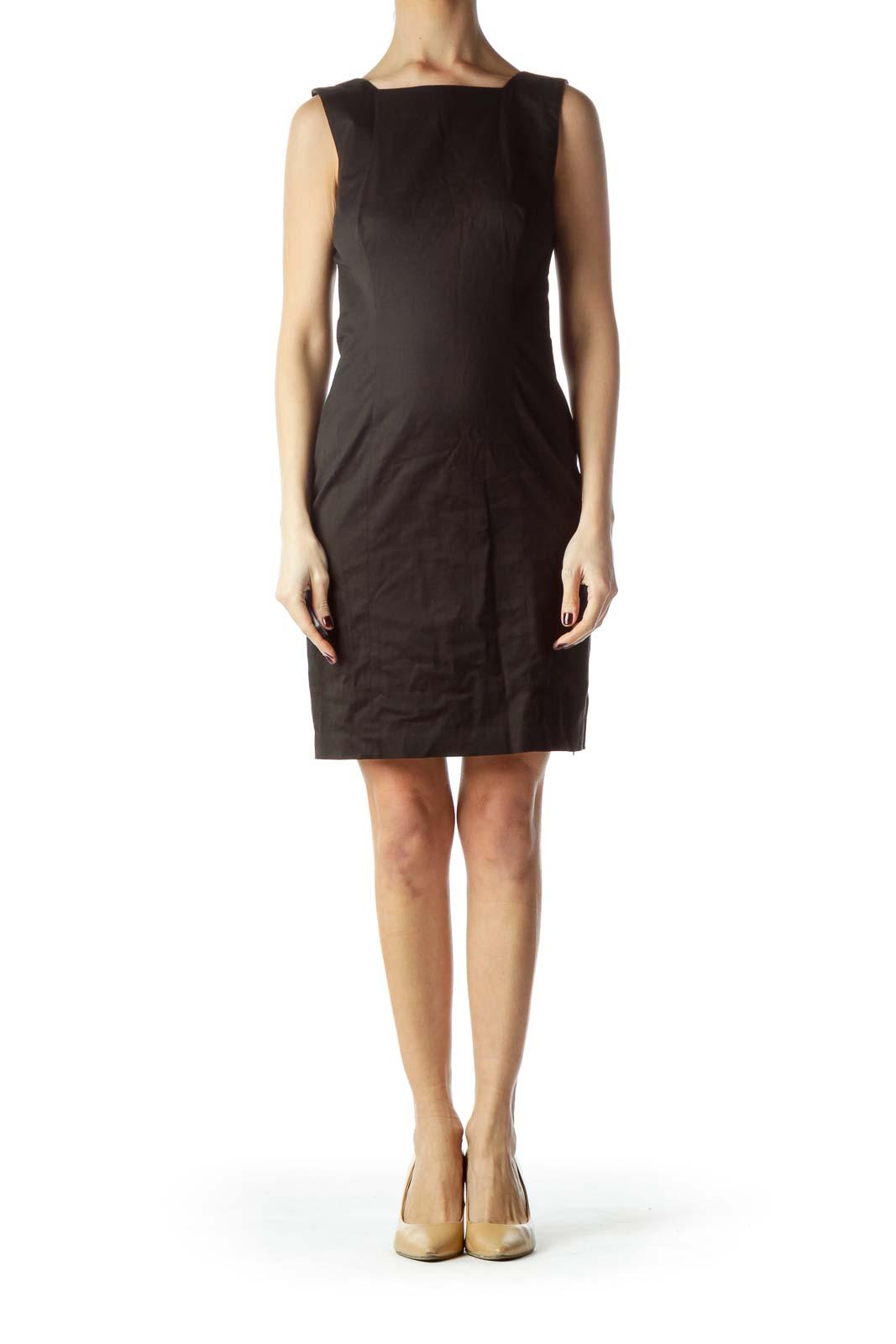 Black Square Neck Sleeveless Work Dress