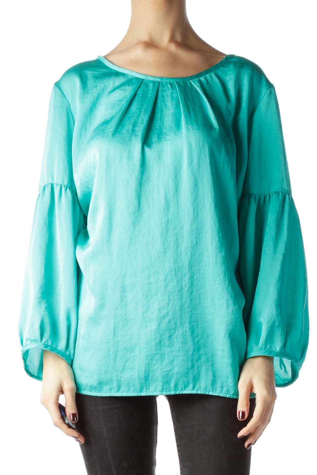 Mint Green Neckline Pleats Shiny Blouse