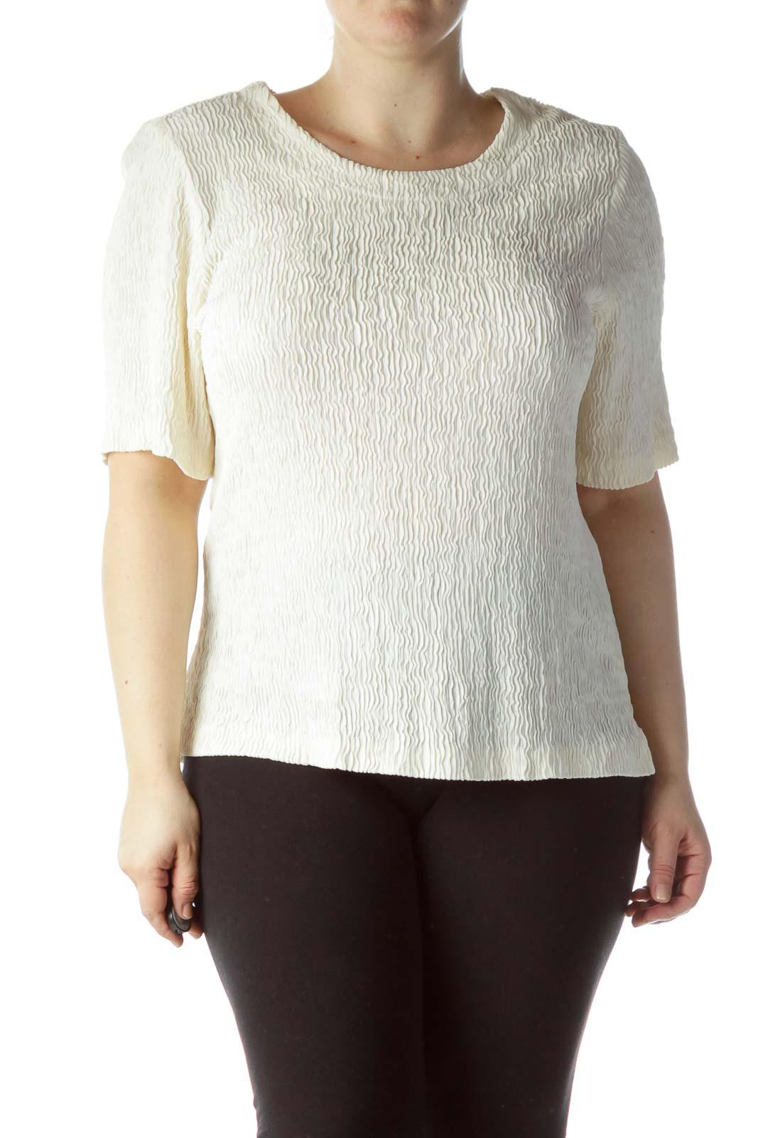 Cream Textured Knit Stretch Top