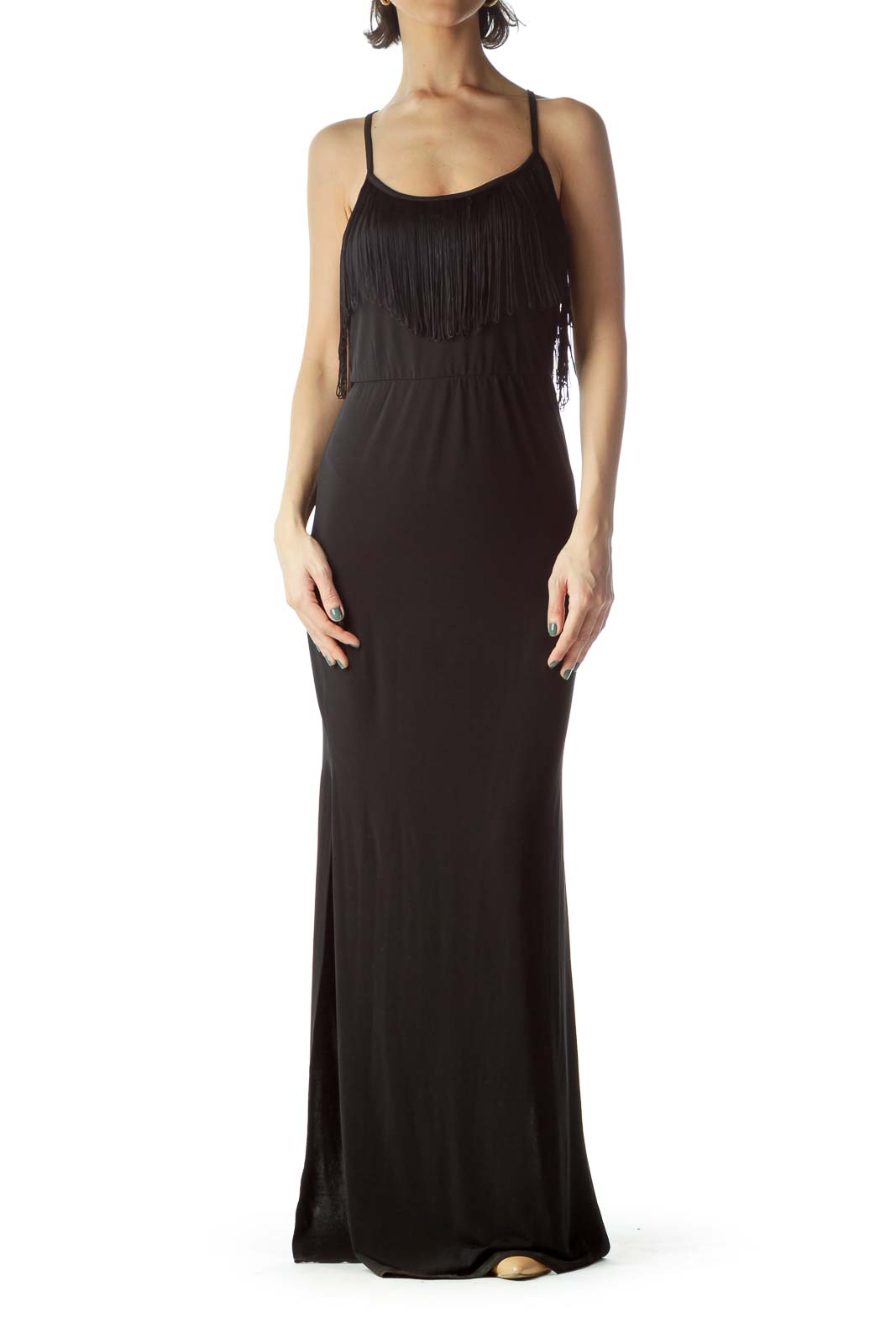 Black Halter Neckline Empire Waist Maxi Dress