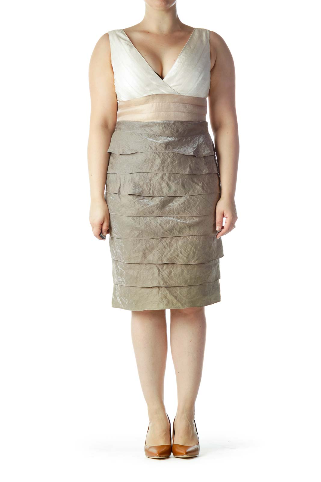 Beige Cream Gray Ruffled Cocktail Dress
