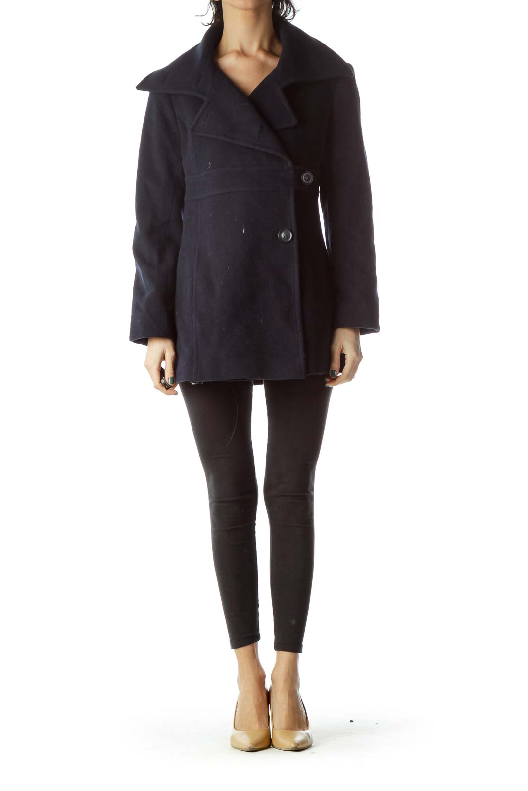 Navy Wool Buttoned Coat