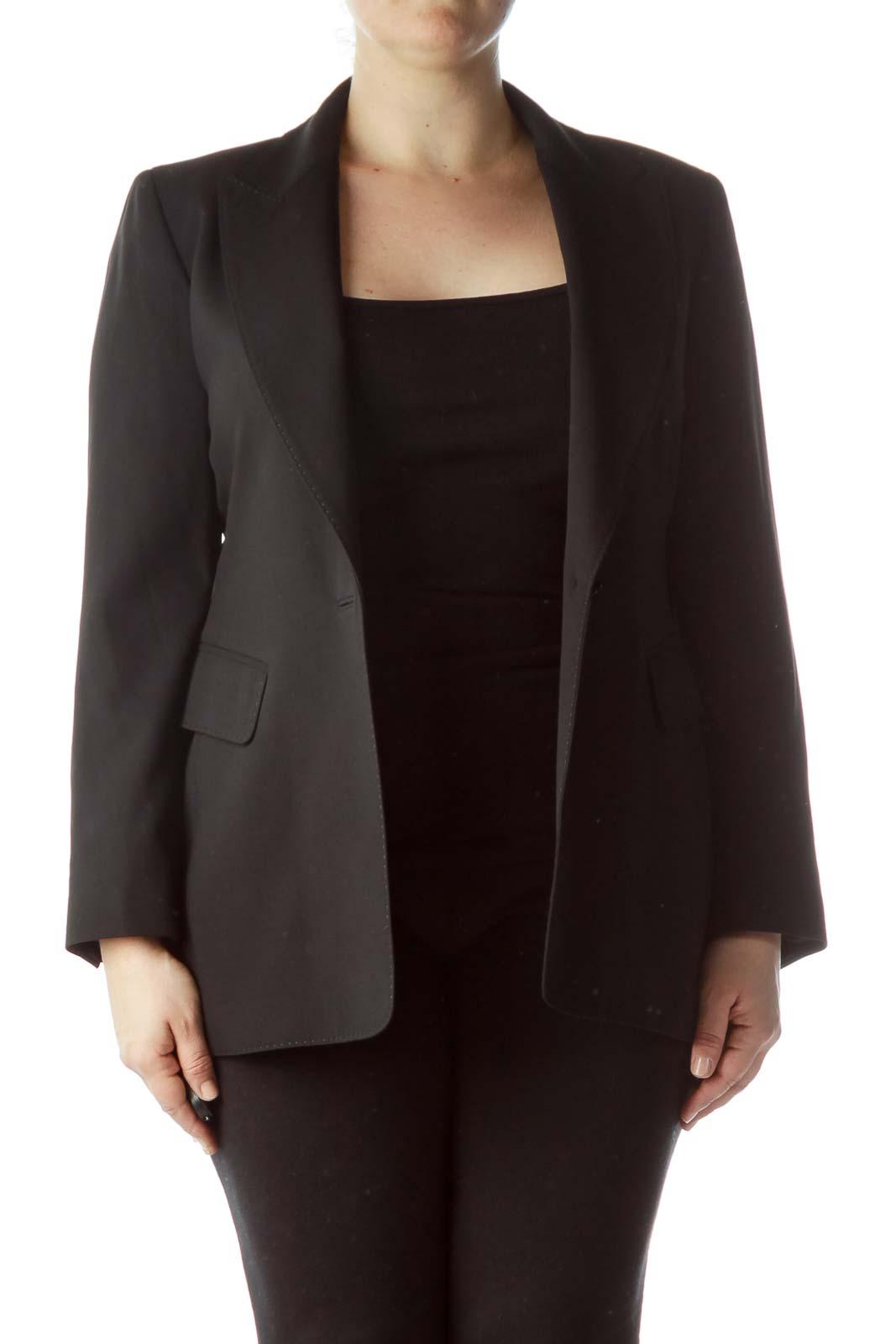 Black Buttoned 100% Wool Blazer