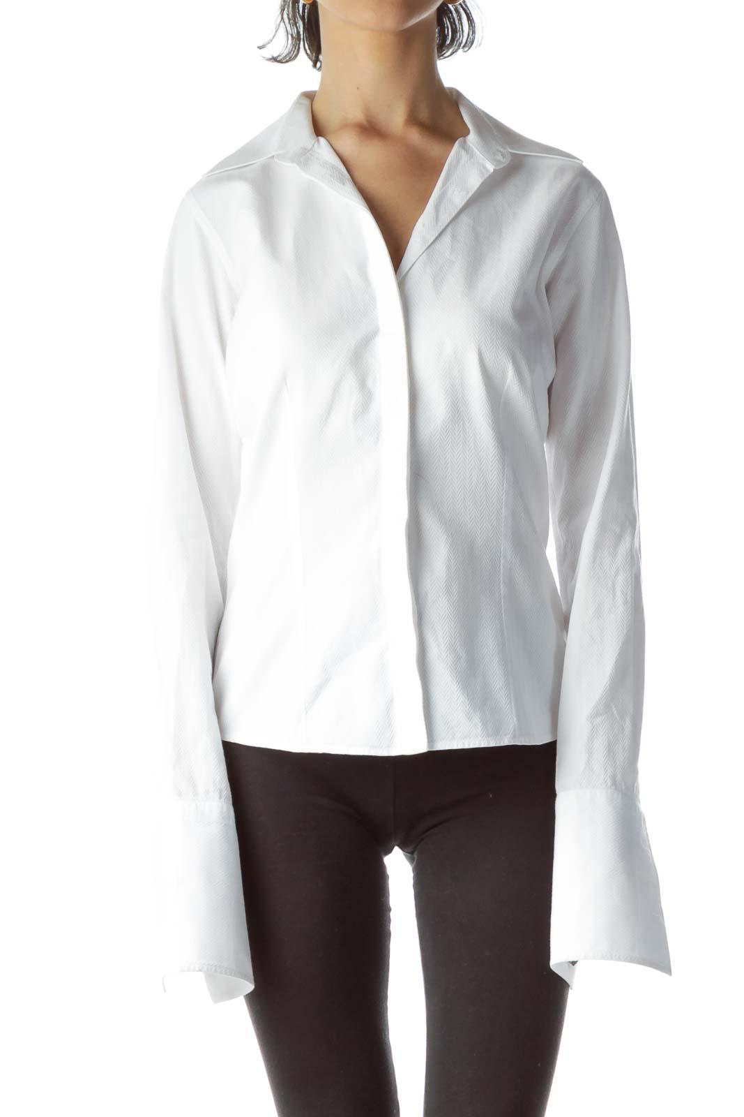 White 100% Cotton Textured Shirt