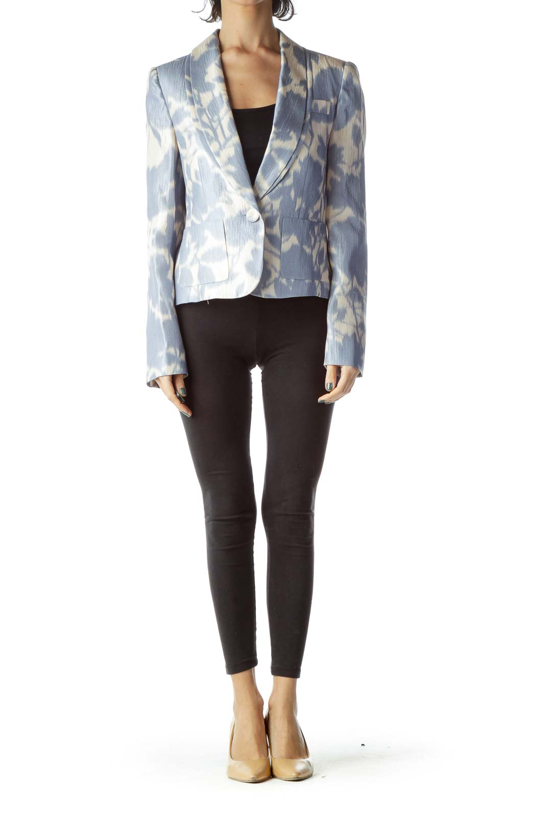 Blue Cream Tie-Die Silk Blazer