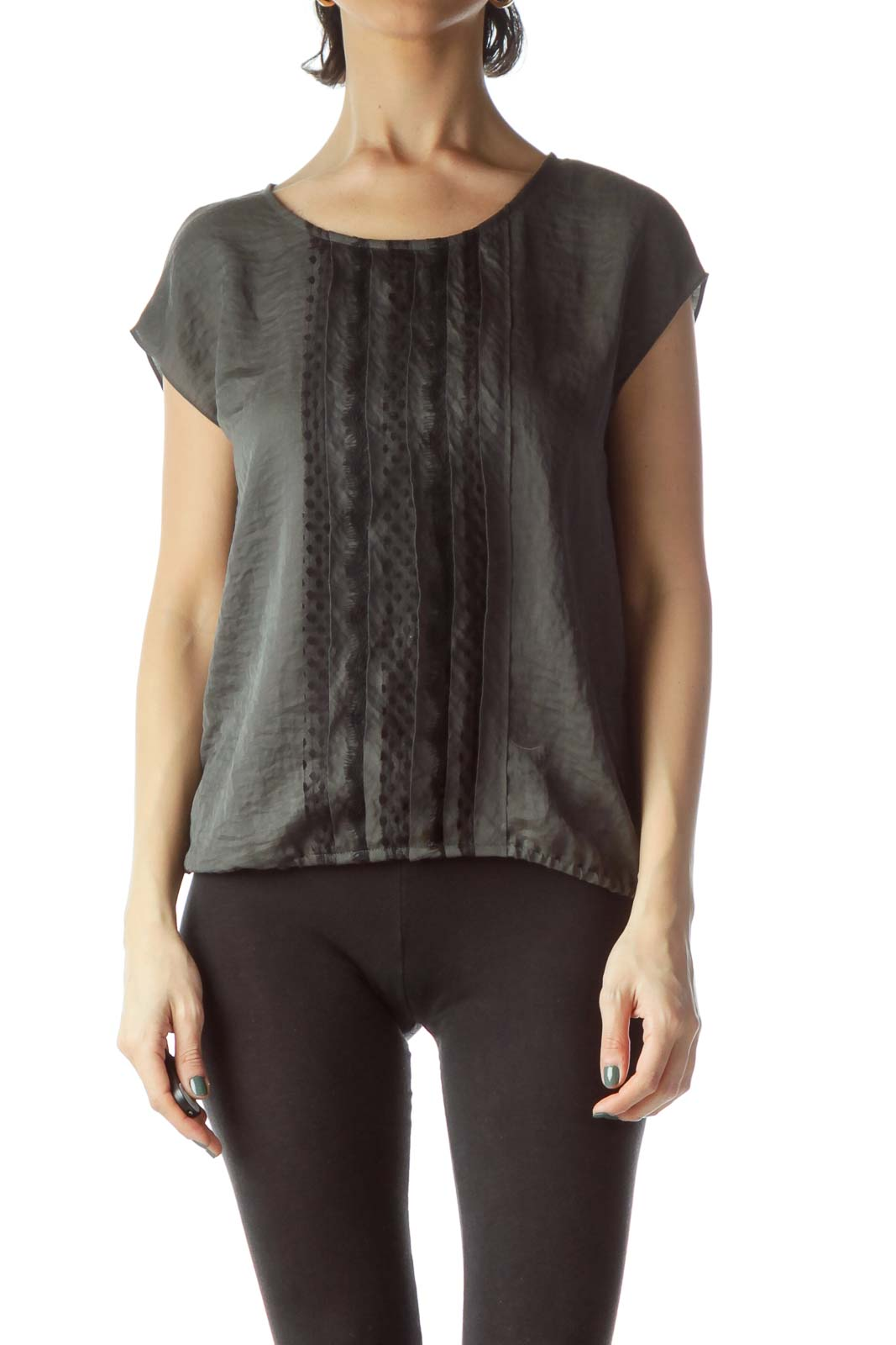 Gray Front Pleats and Lace Sleeveless Blouse