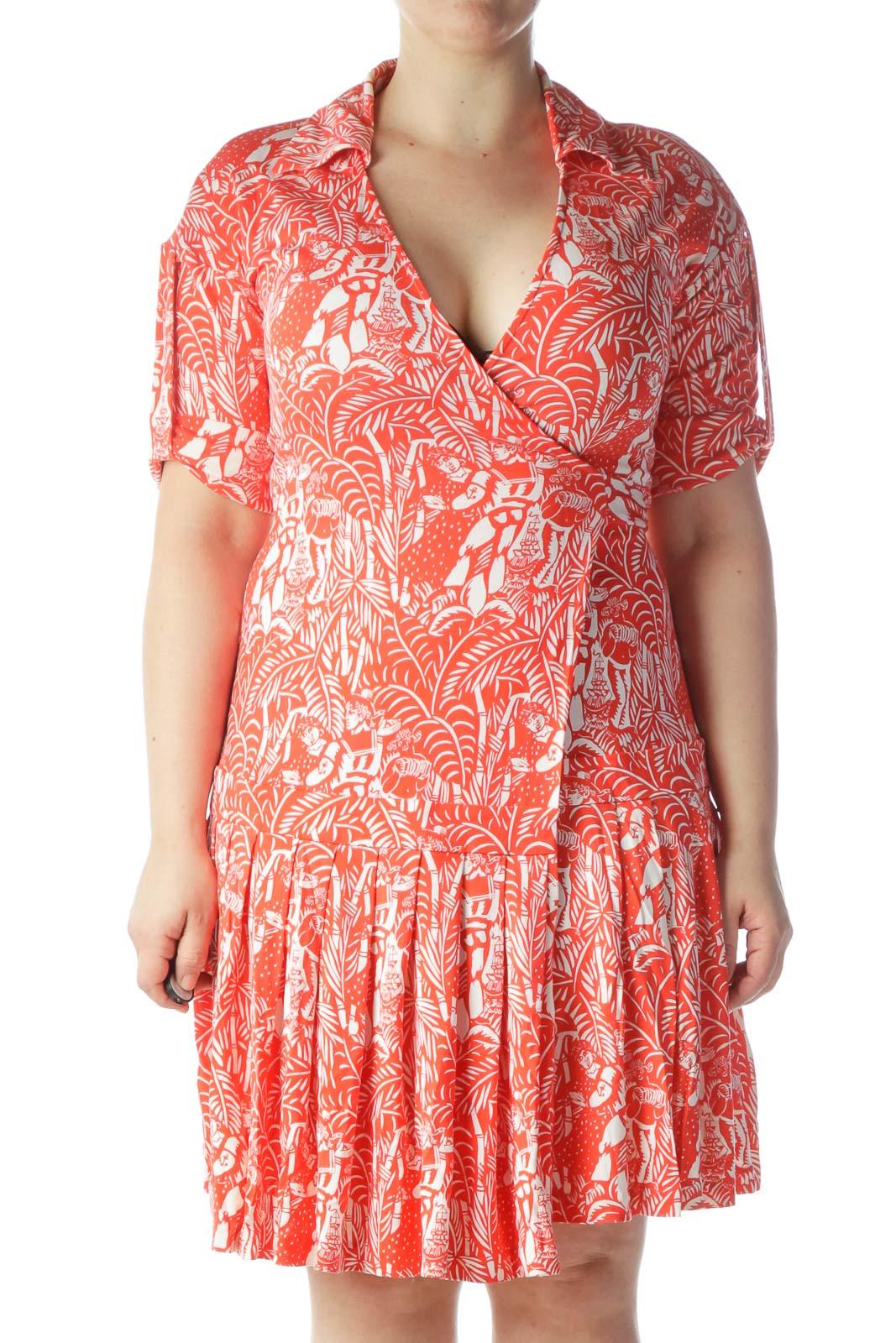 Red White Print 100% Silk Wrap Dress