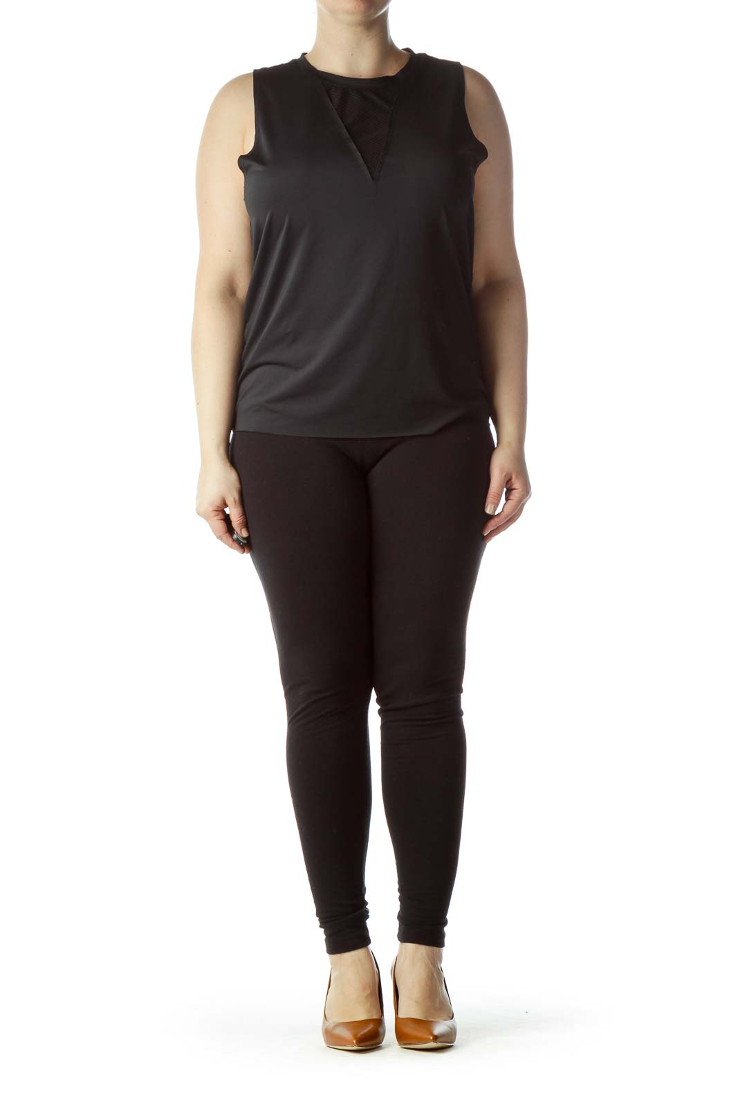 Black Round Neck Sleeveless Yoga Top
