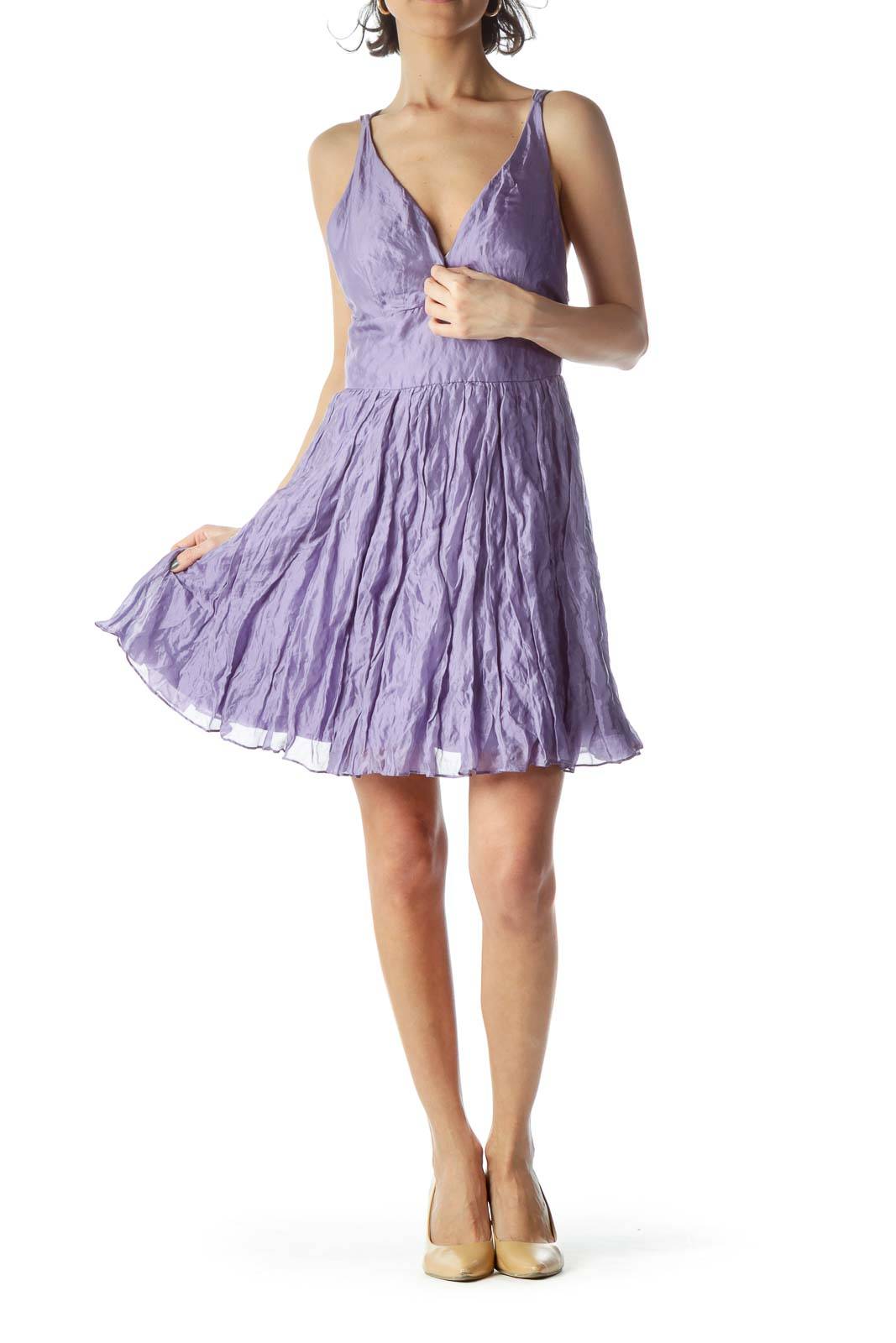 Lilac Spaghetti Strap Puffy Flared Dress