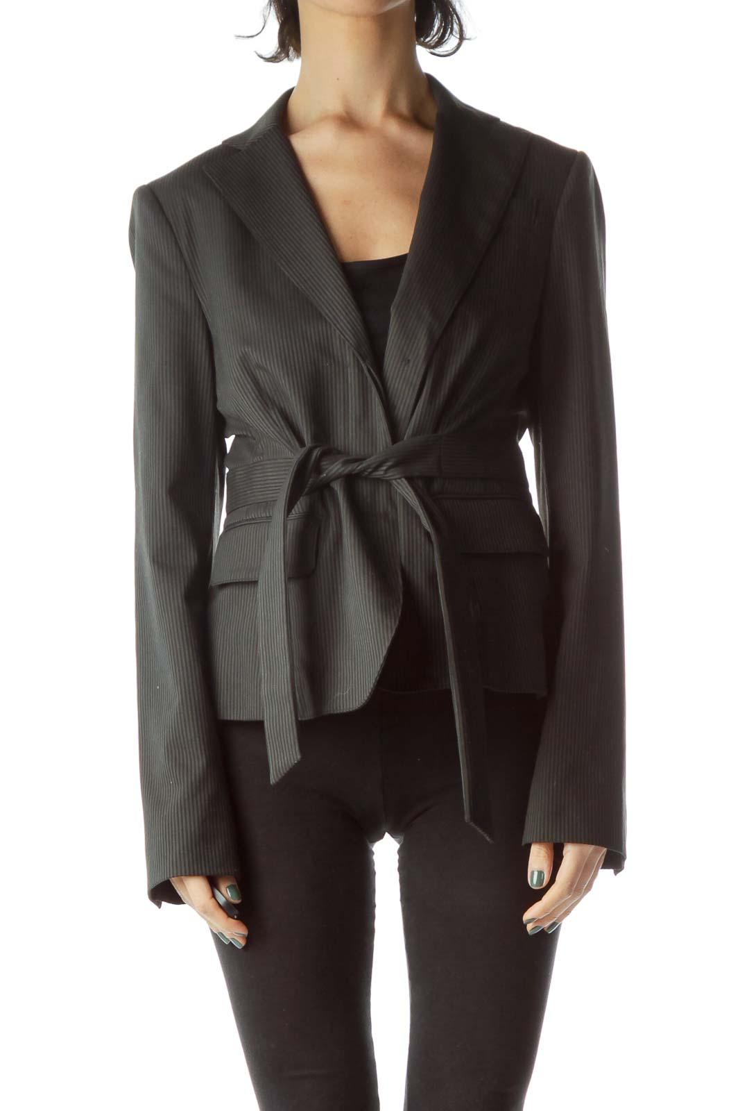 Gray Black Pinstripe Blazer with Tie