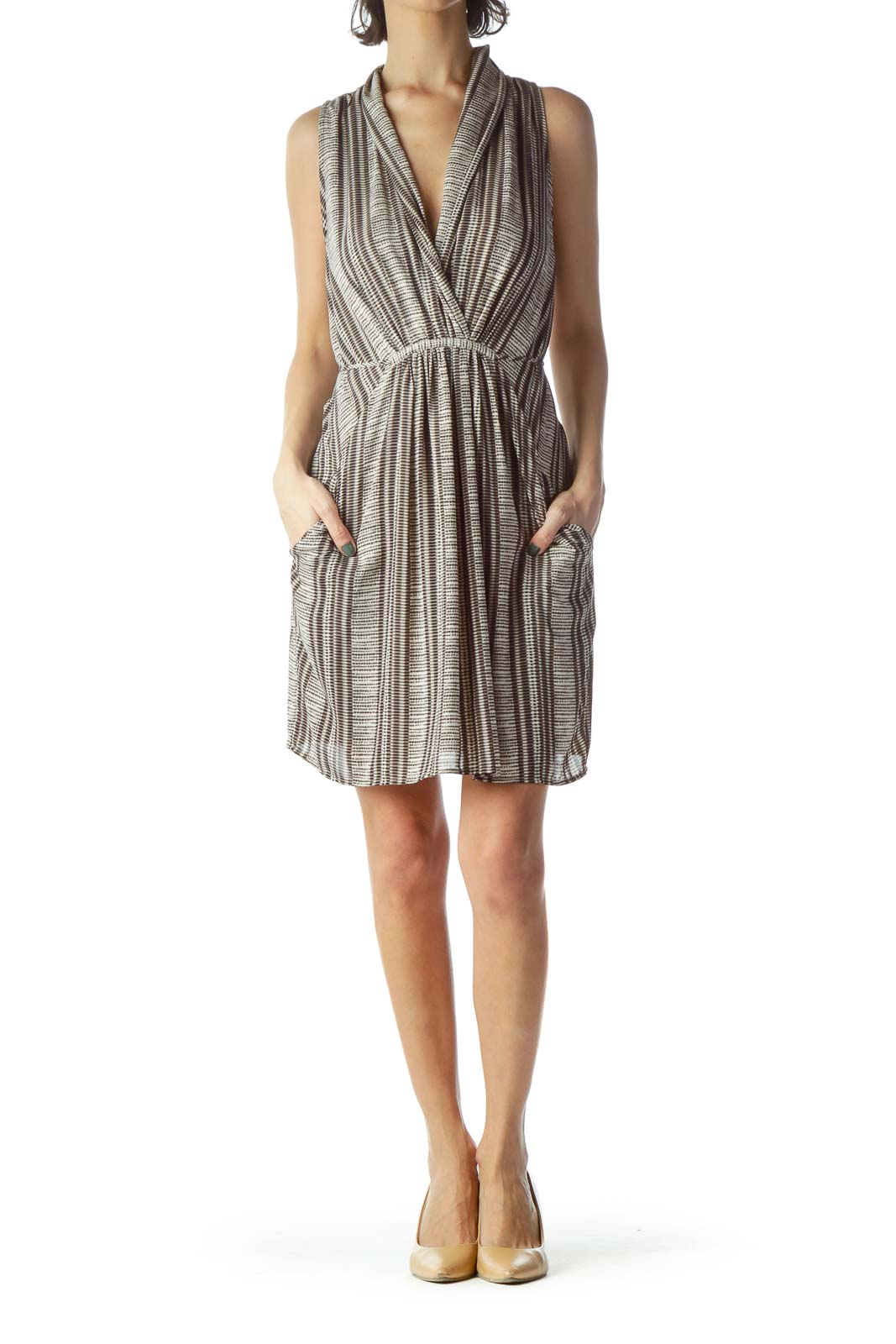 Brown Black Beige Print V-Neck Dress