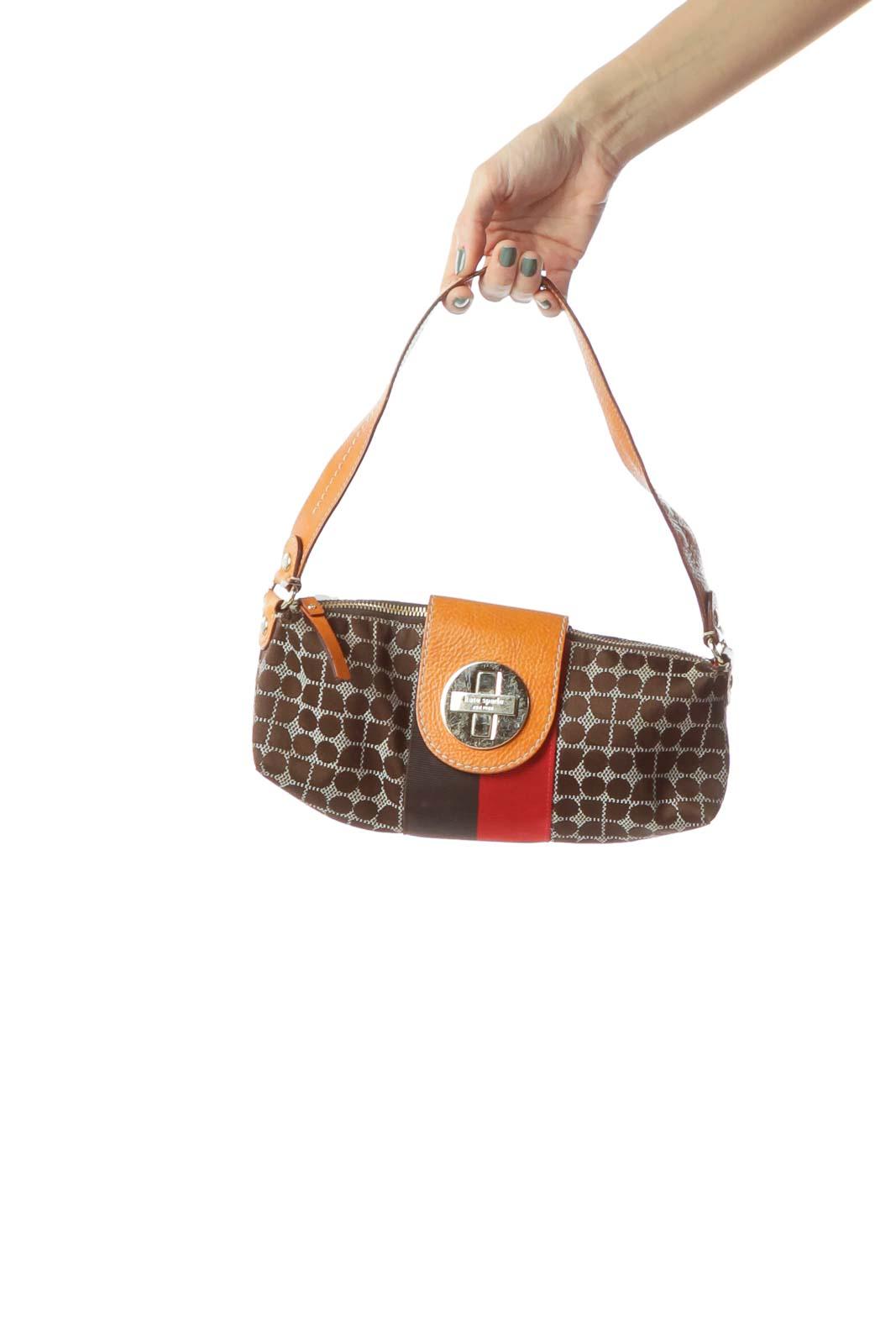 Brown Red Print & Leather Detail Shoulder Bag