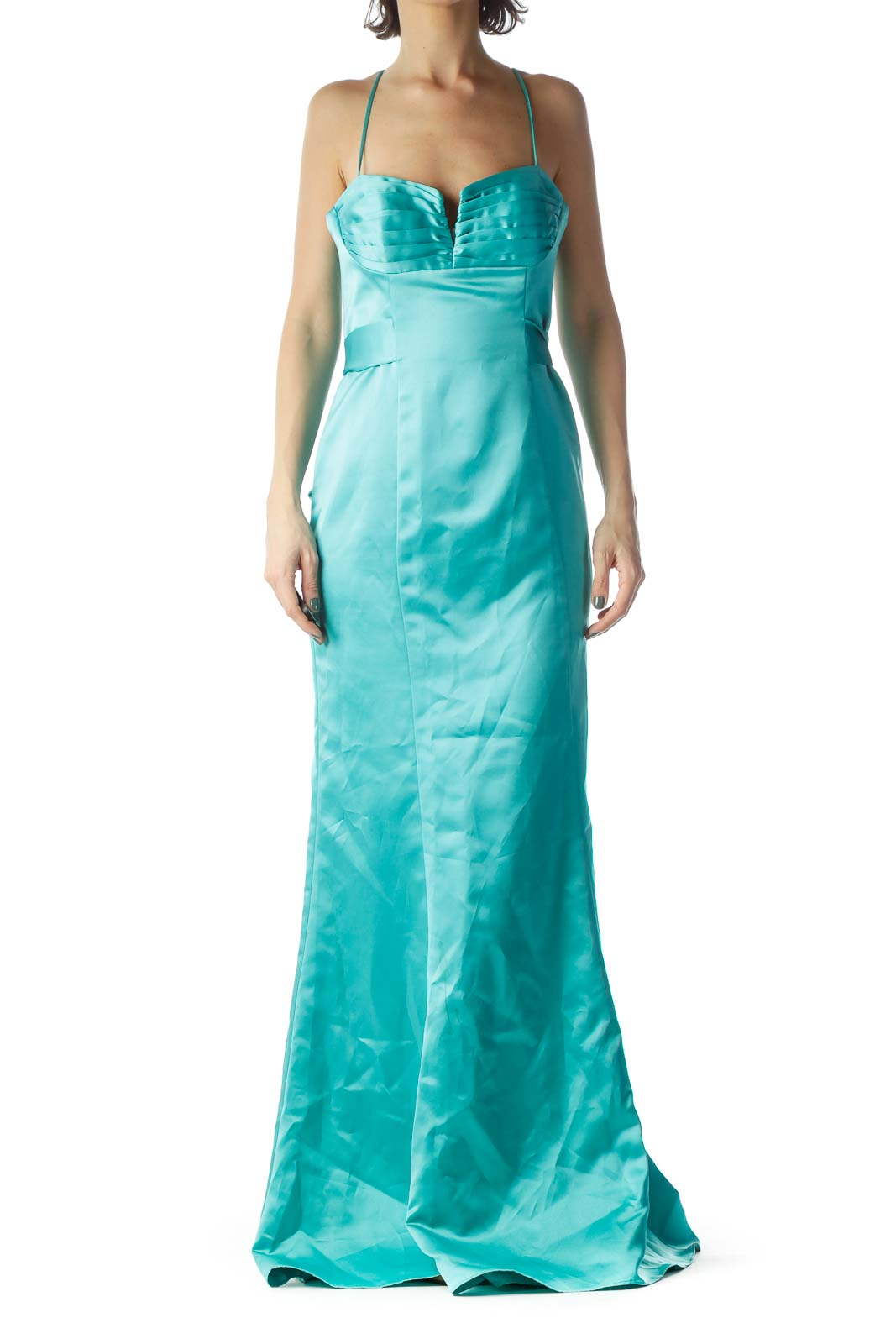 Teal Blue Sweetheart Neck Spaghetti Strap Dress
