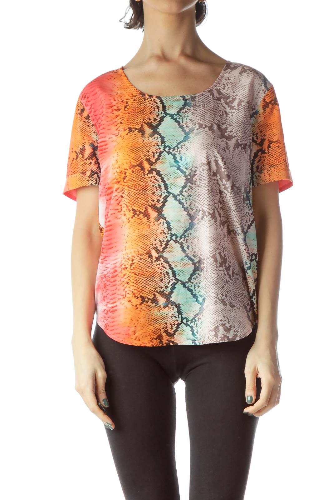 Multicolored Snakeskin Print Loose Blouse