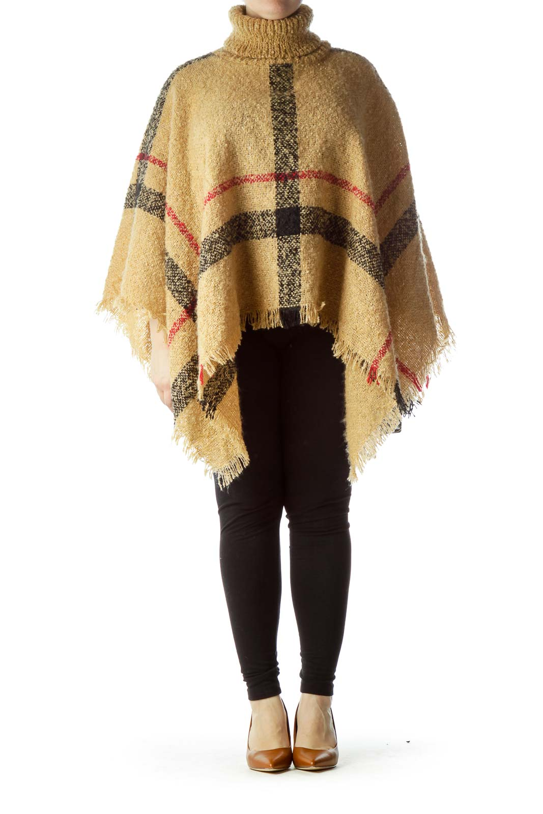 Beige Black Red Plaid Turtle Neck Knit Poncho