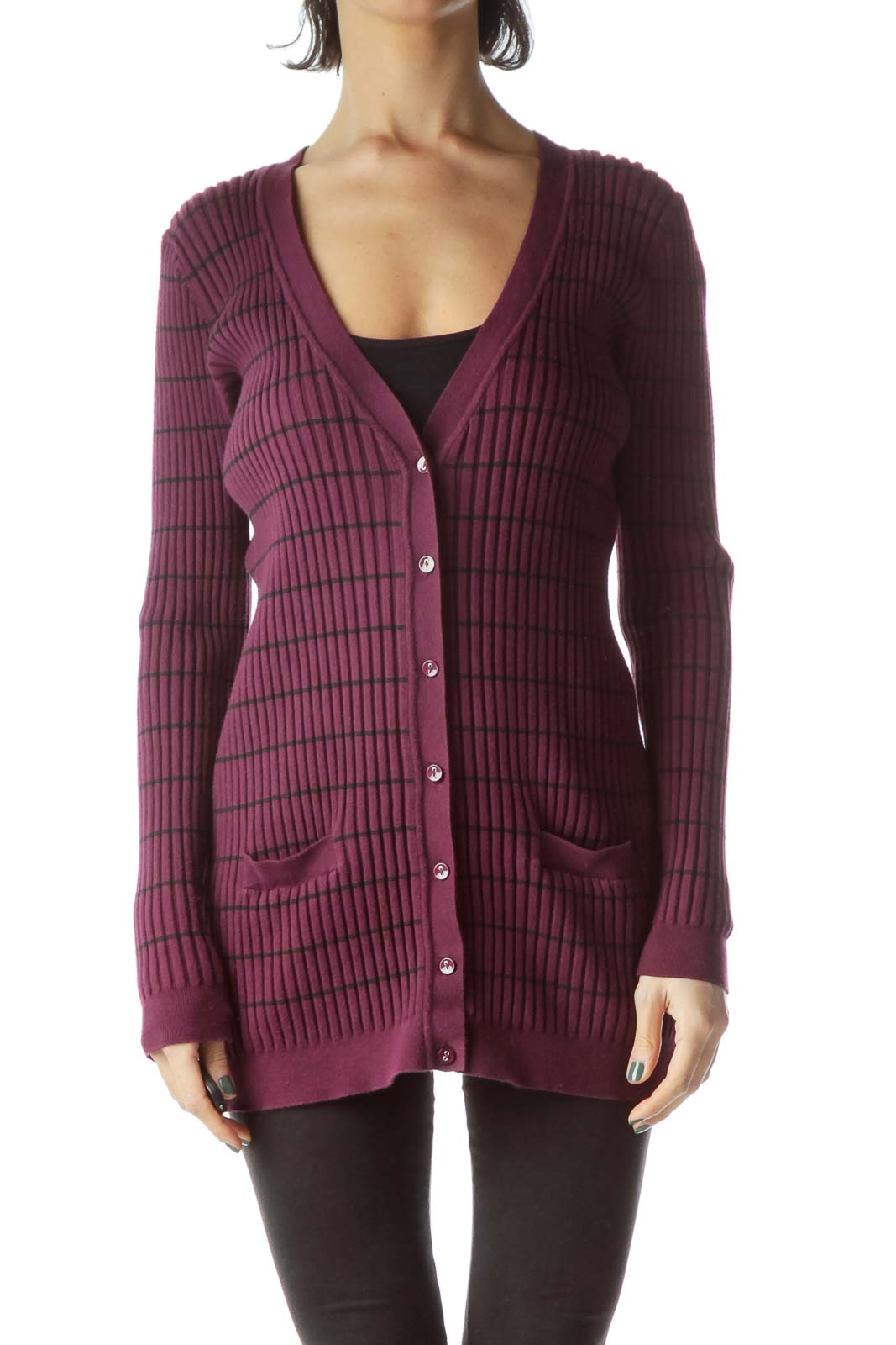 Purple Black Stripes Long Stretch Cardigan