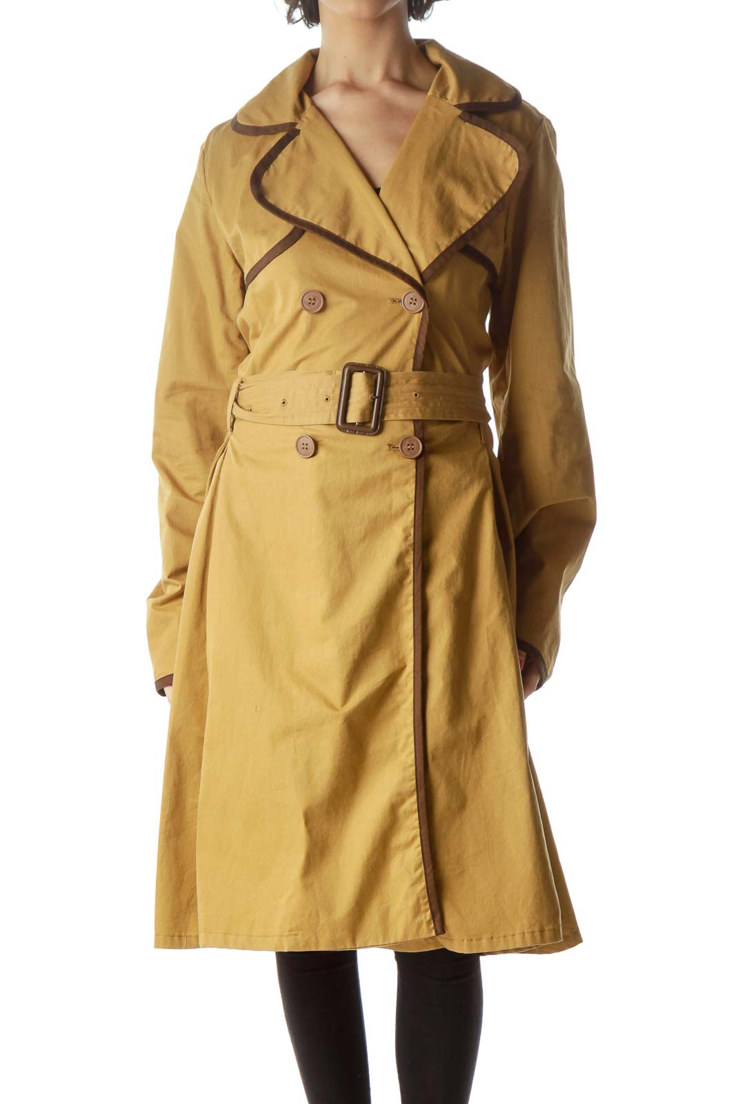 Brown Flared Trench Coat
