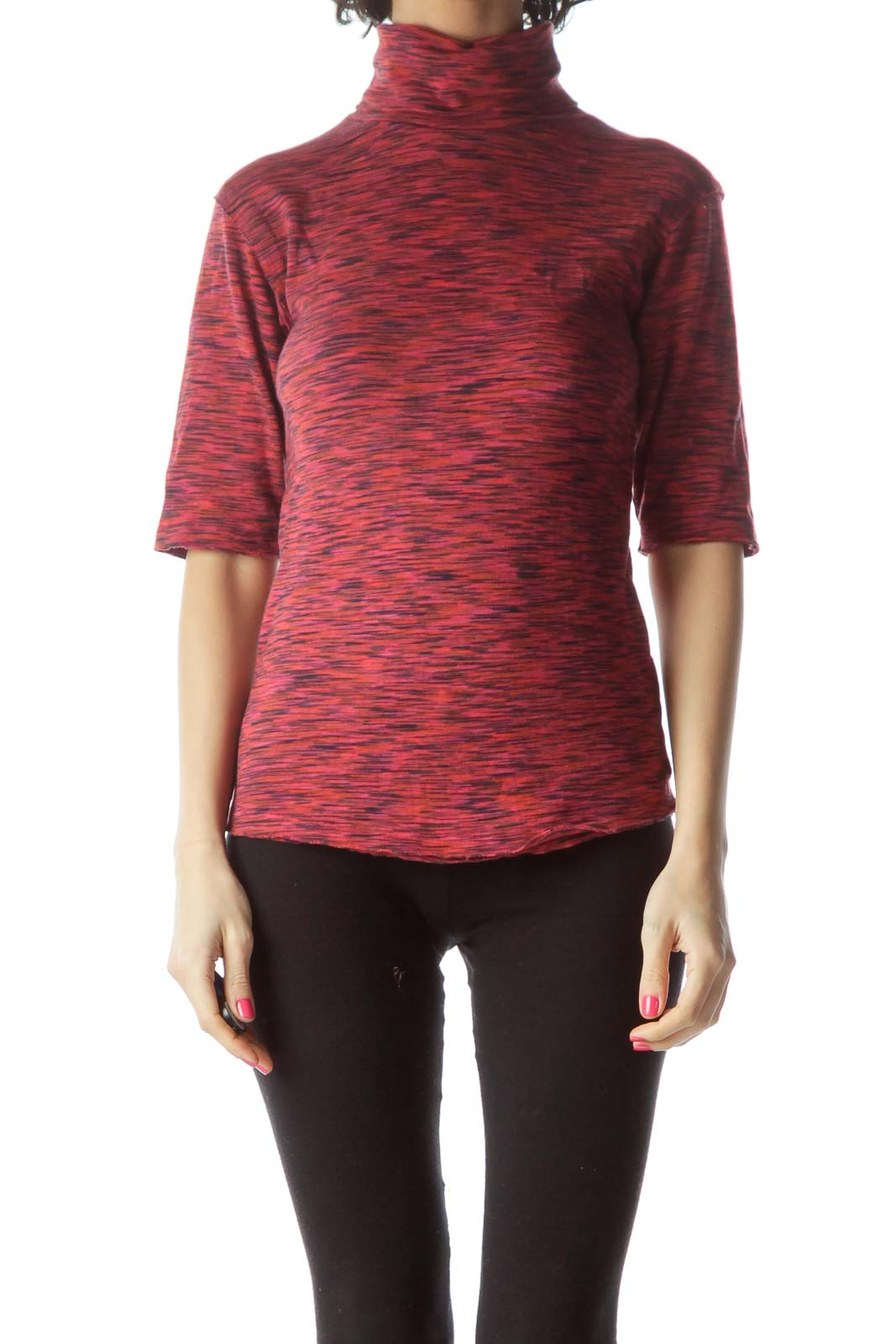 Red Mottled Turtle Neck