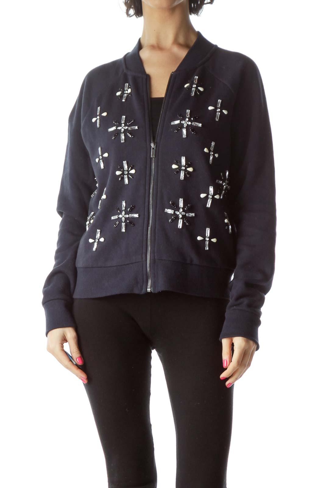 Navy Bejeweled Zippered Jacket
