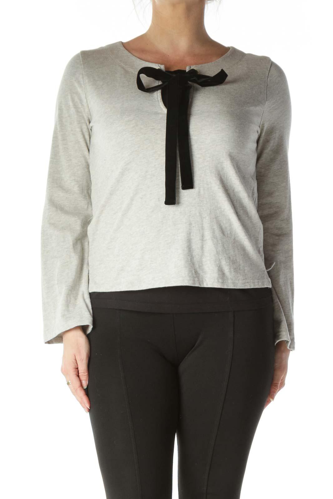 Gray Fleece with Velvet Tie
