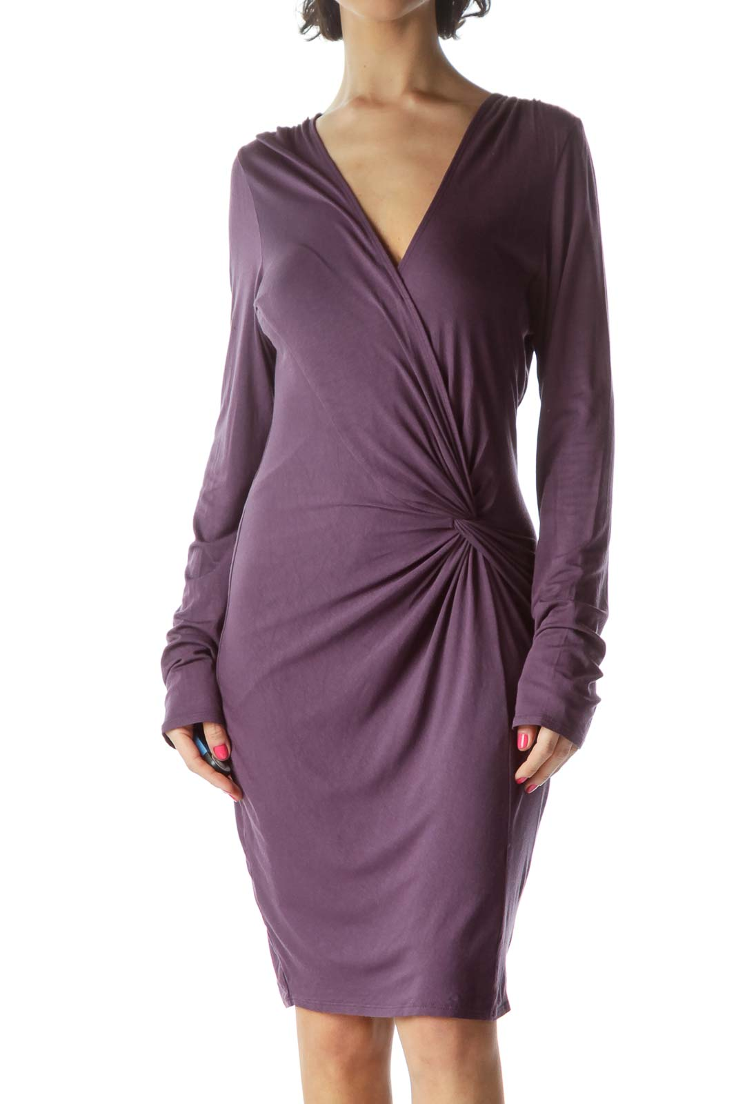 Purple Center Knot Jersey Dress