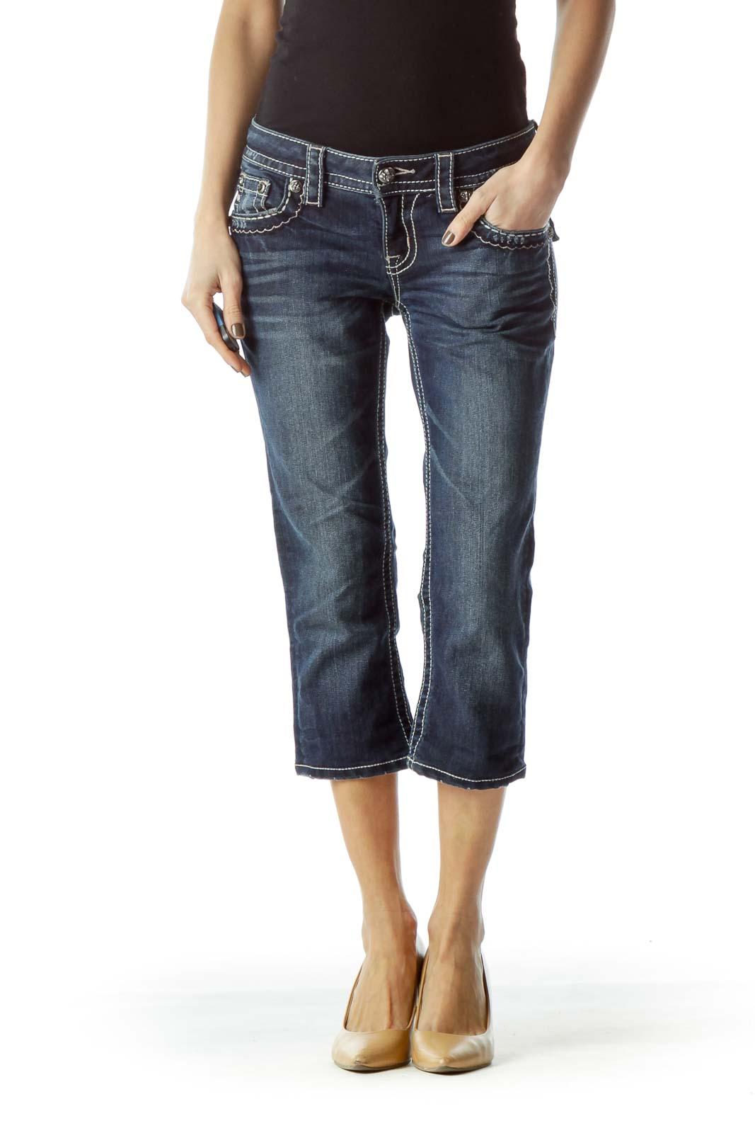 Blue Dark Wash Stitched Capri Denim Jeans