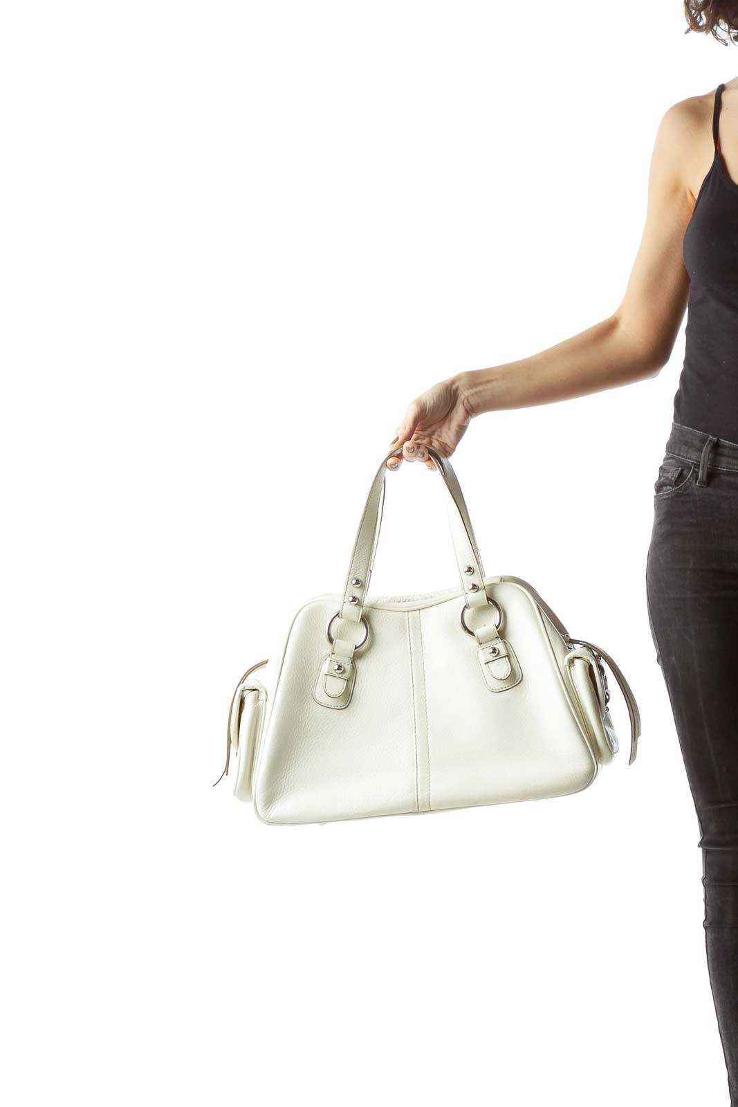 Cream Genuine Leather Pocketed Satchel with Hardware
