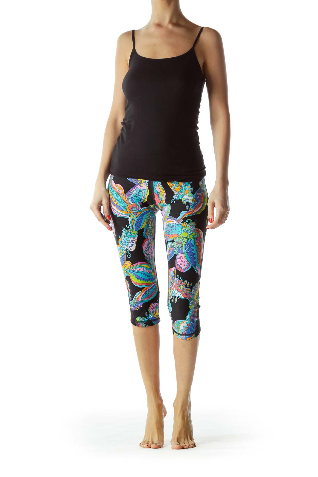 Multicolored Print Cropped Sports Pants