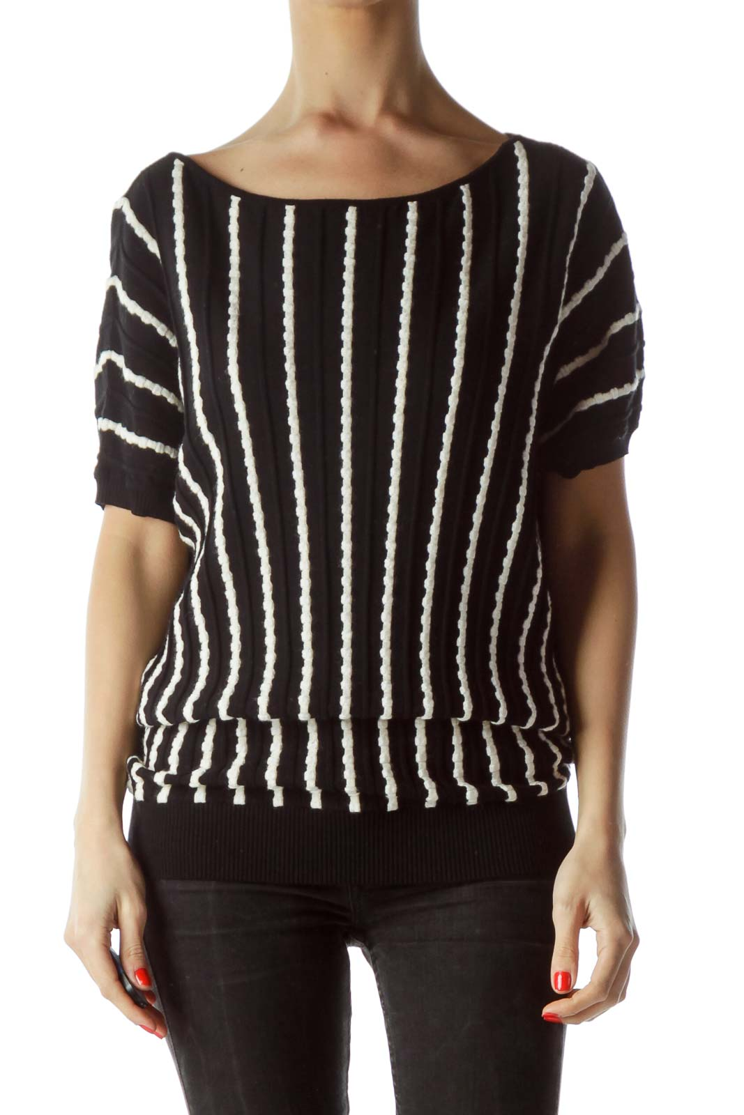 Black Cream Knitted Stripes Textured Top