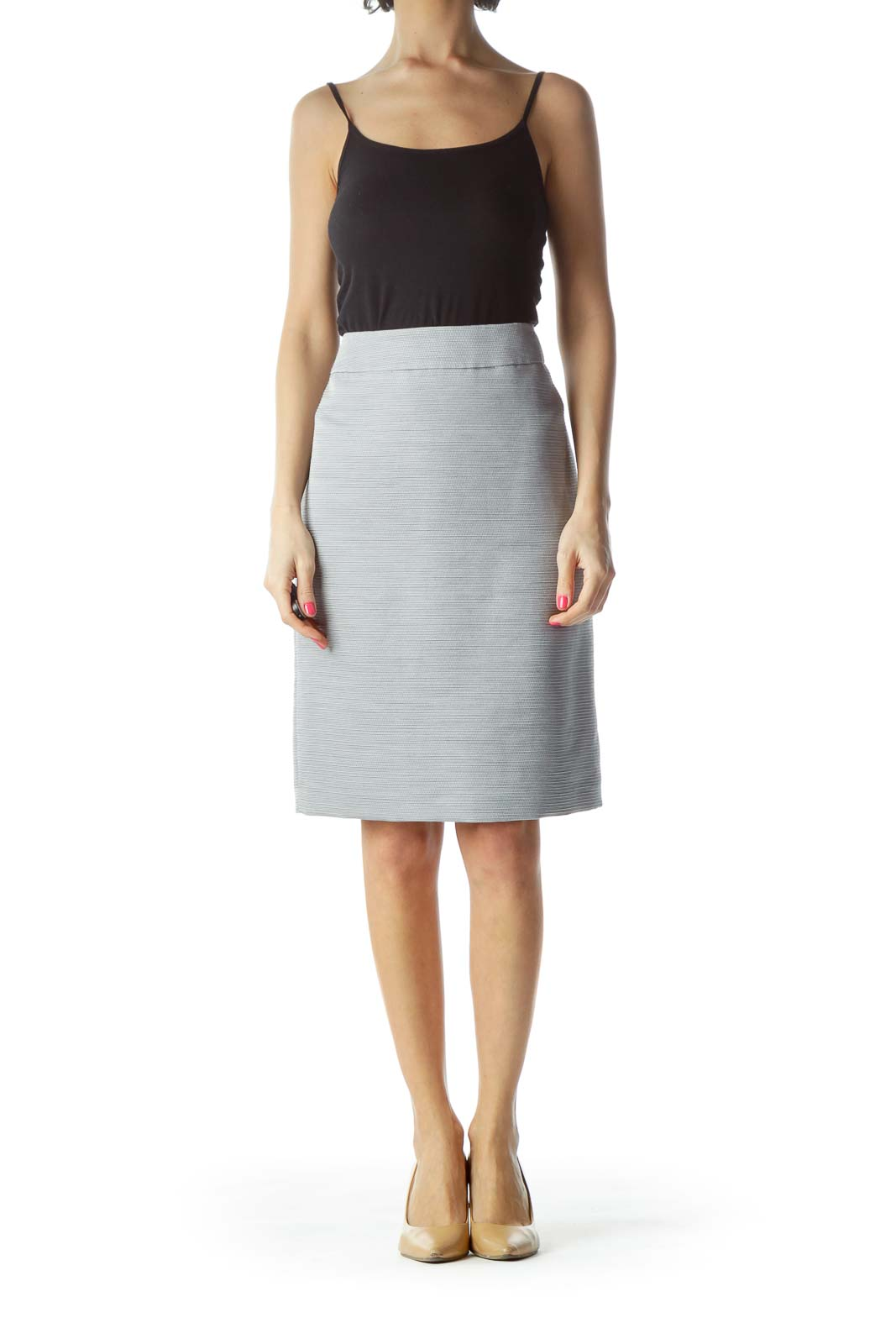 Silver Textured Pencil Skirt