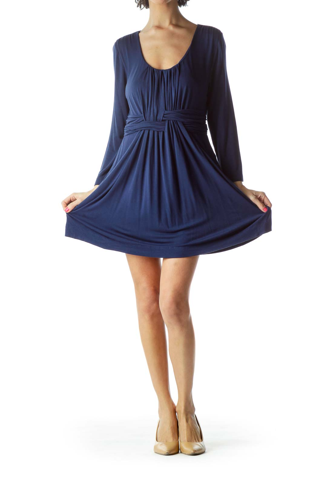 Navy Jersey Pleated Dress