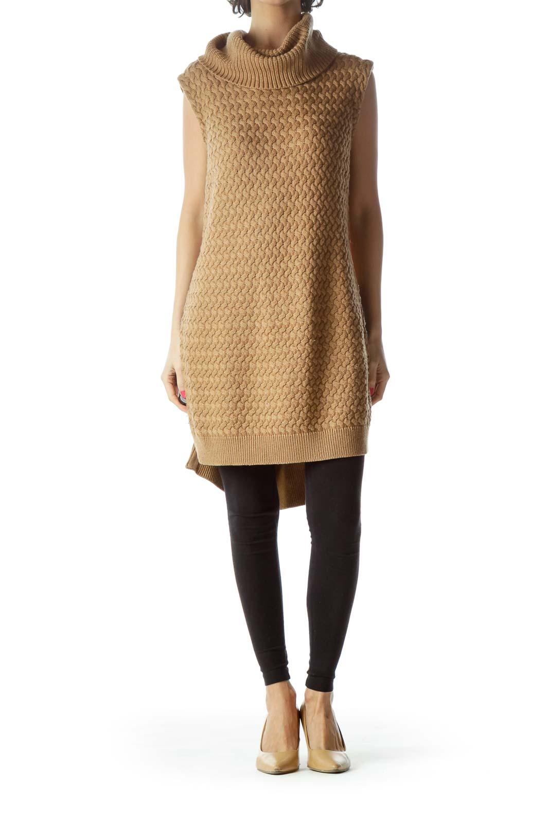 Brown Sleeveless Turtleneck Knit with Zipper Detail