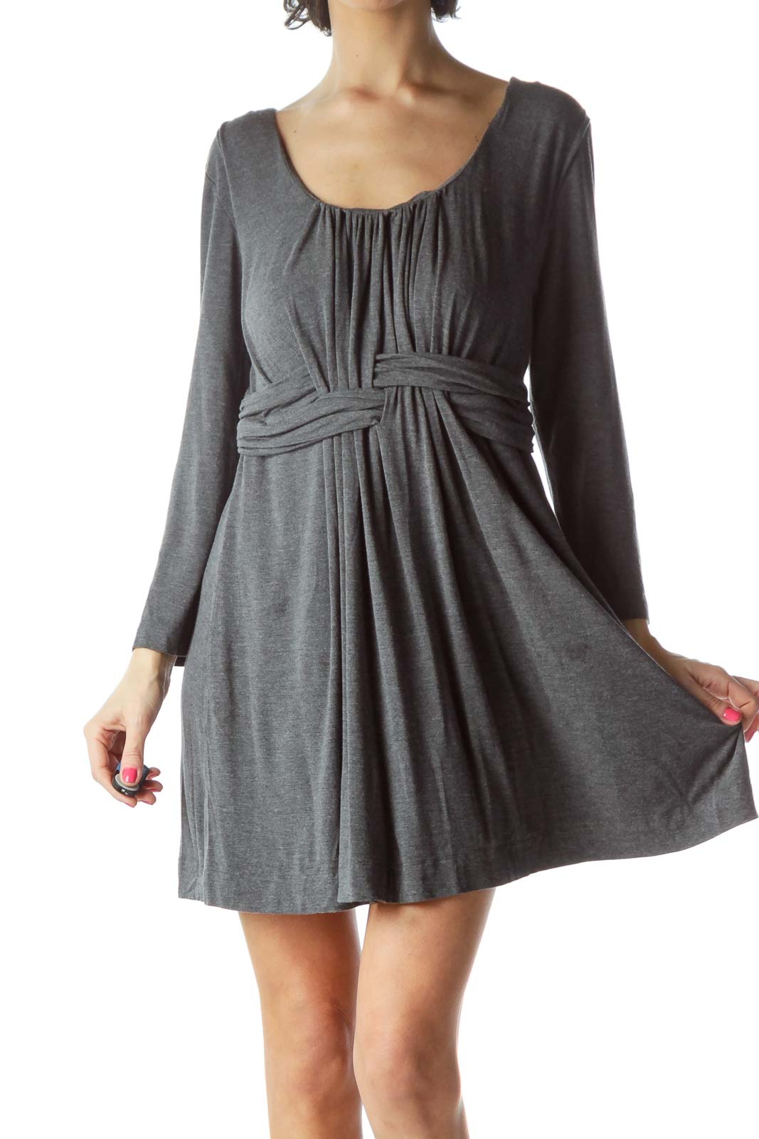 Gray Jersey Pleated Dress