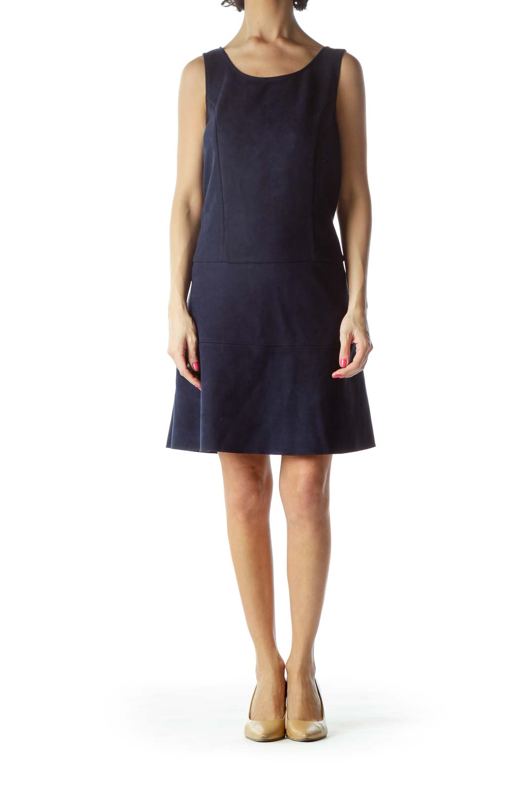 Navy Sleeveless Faux-Suede Work Dress