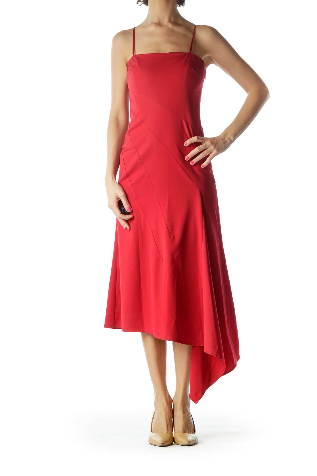 Red Strapless Asymmetric Cocktail Dress