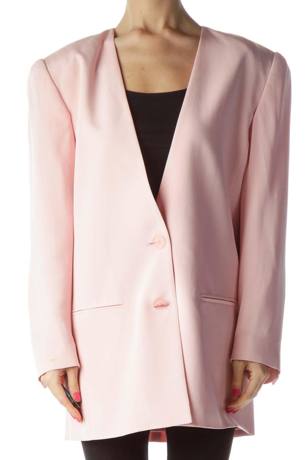 Pink Padded Shoulder Silk Blazer