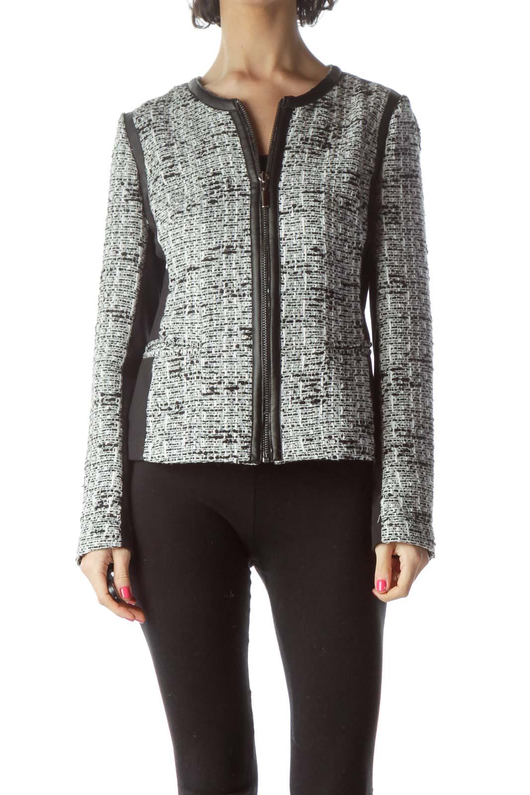 Black White Tweed Zippered Jacket