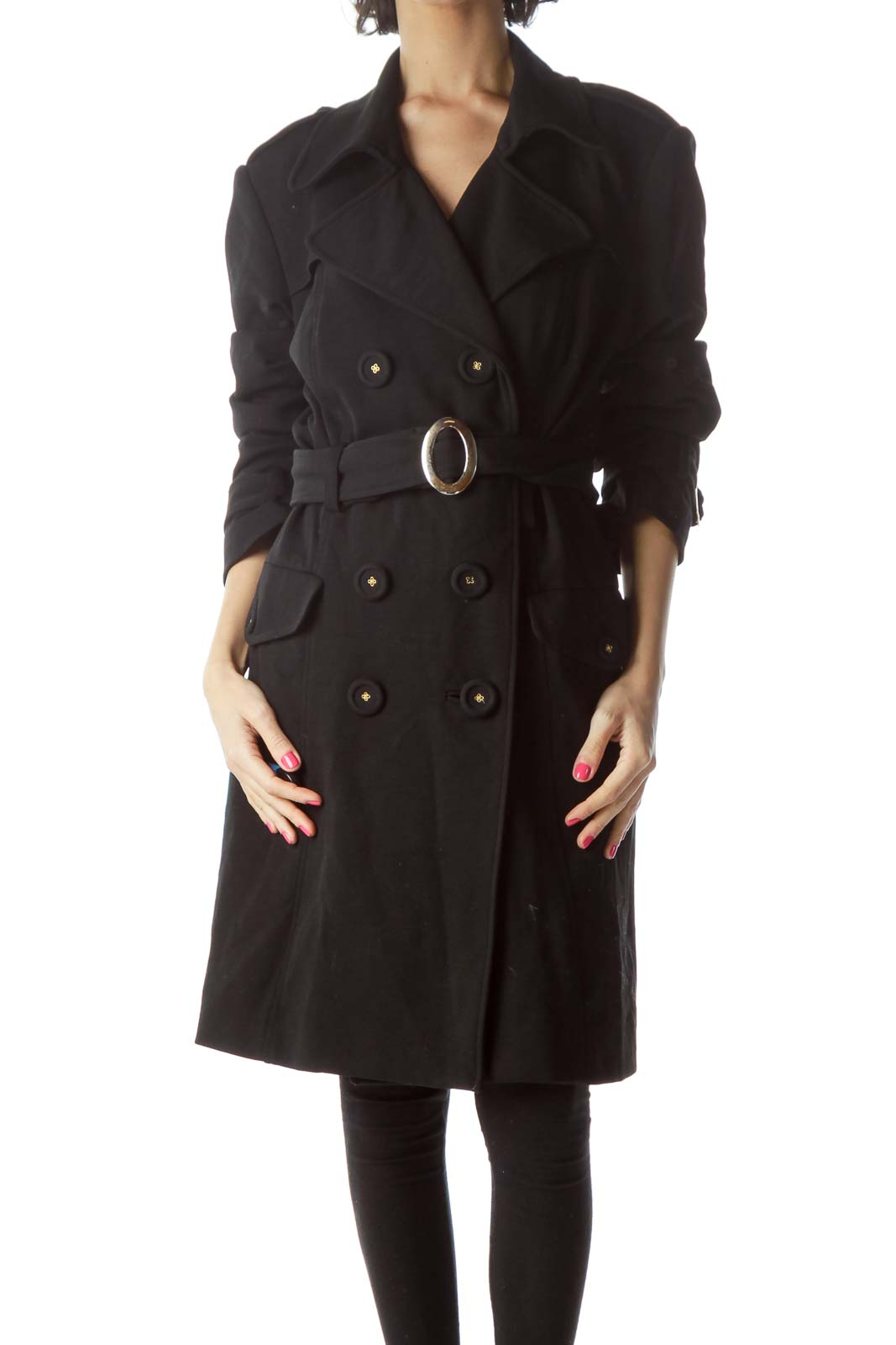 Black Double Breasted Long Coat