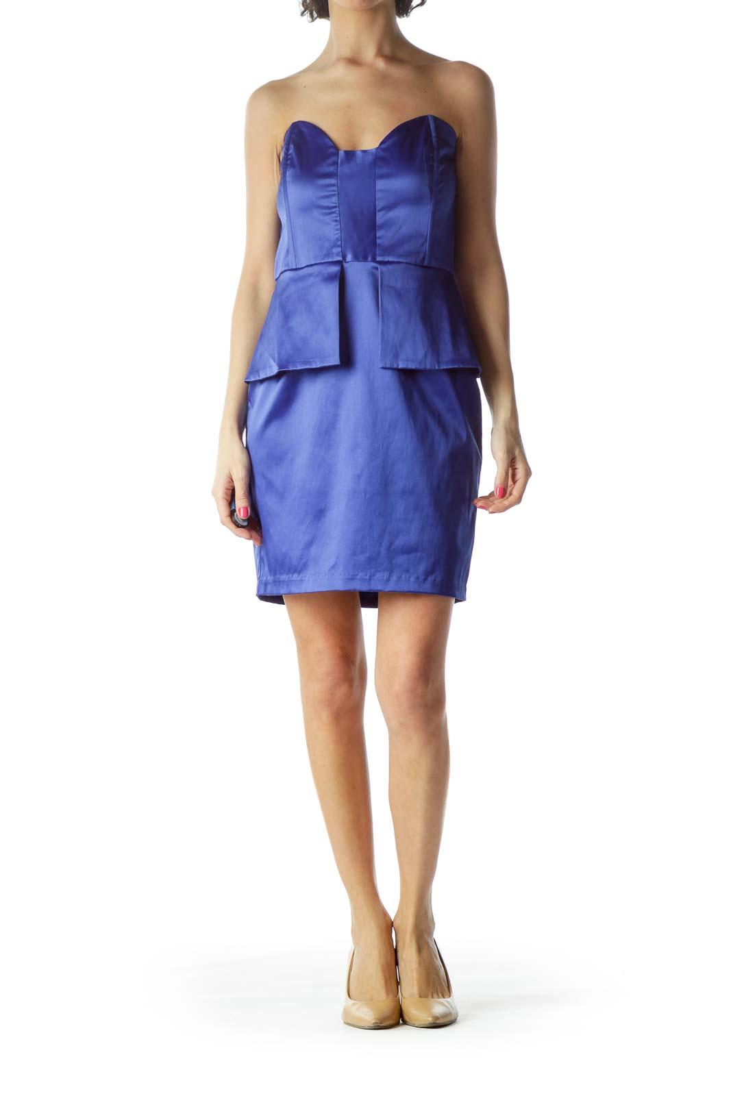 Blue Strapless Peplum Dress
